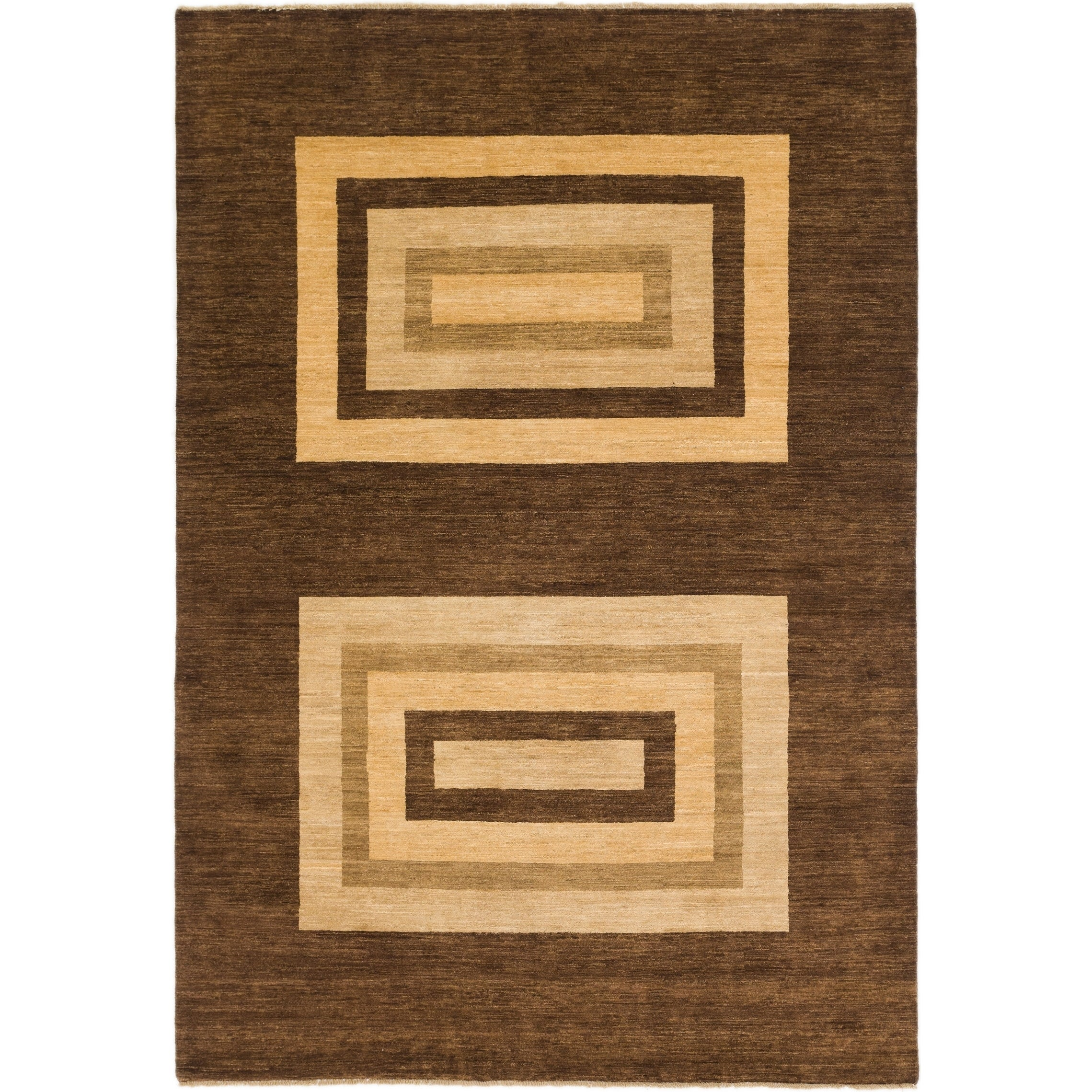 Hand Knotted Kashkuli Gabbeh Wool Area Rug - 6 10 x 9 10 (Brown - 6 10 x 9 10)