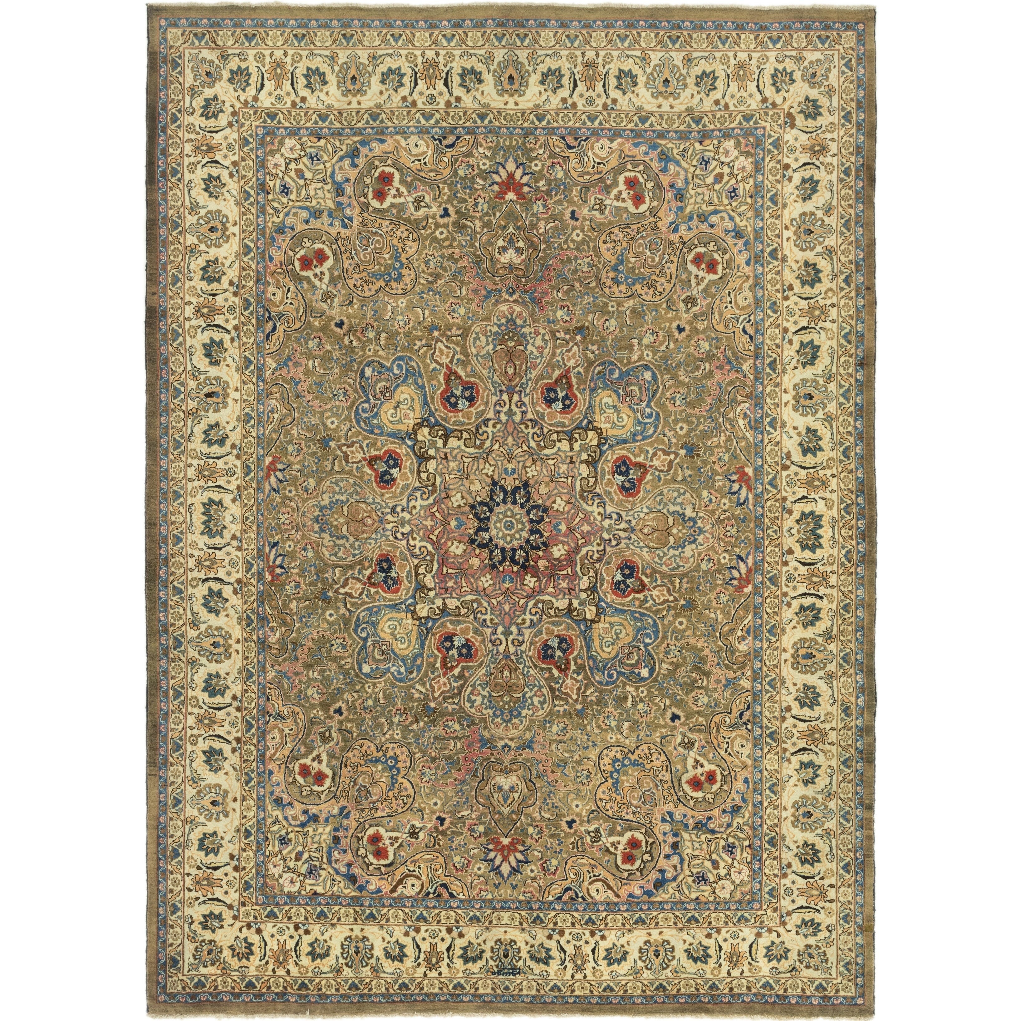 Hand Knotted Kashmar Semi Antique Wool Area Rug - 10 x 13 5 (Olive - 10 x 13 5)