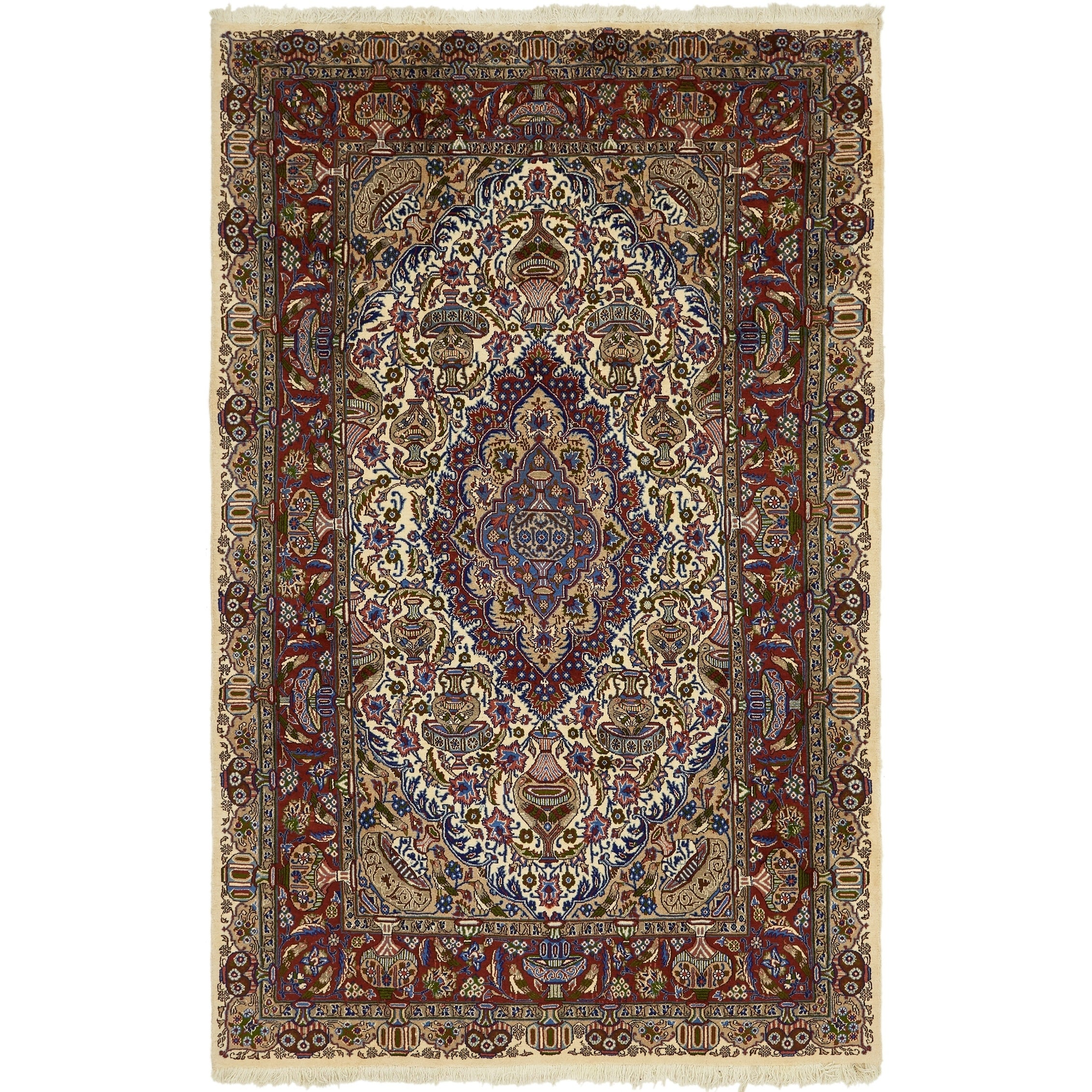 Hand Knotted Kashmar Wool Area Rug - 6 6 x 10 (Ivory - 6 6 x 10)