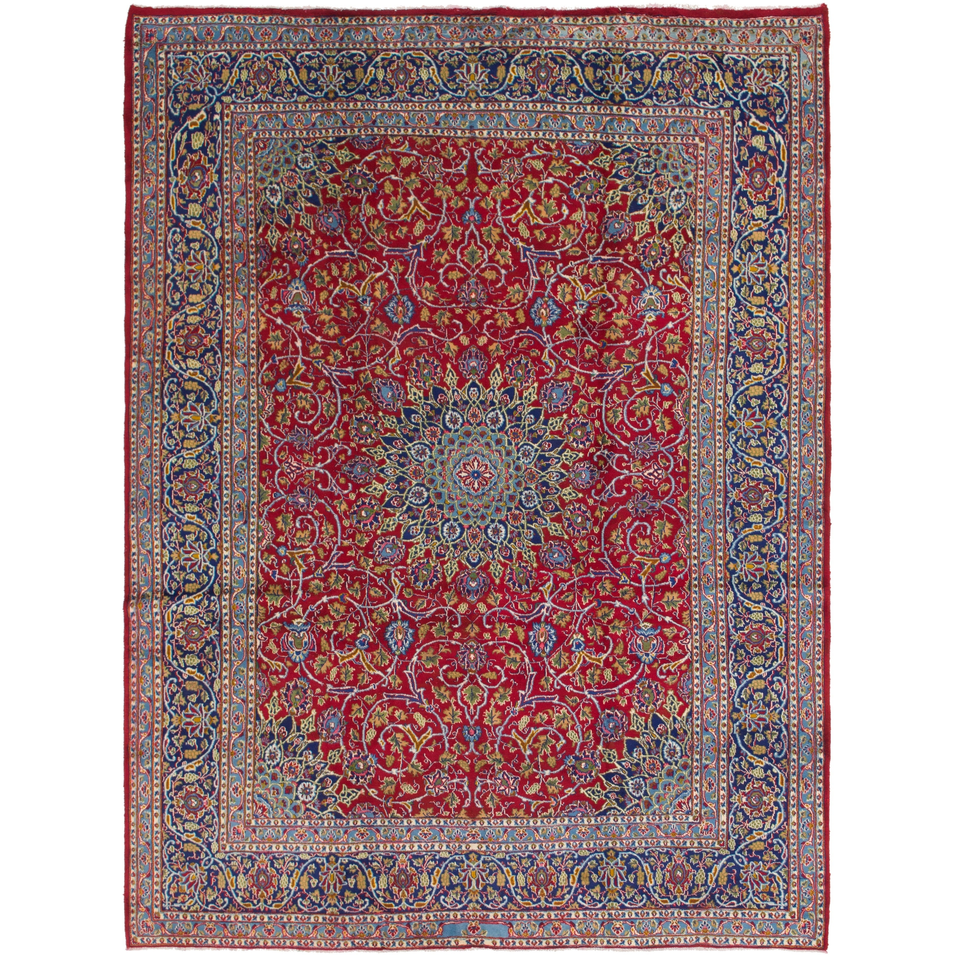 Hand Knotted Kashmar Semi Antique Wool Area Rug - 9 6 x 12 10 (Red - 9 6 x 12 10)