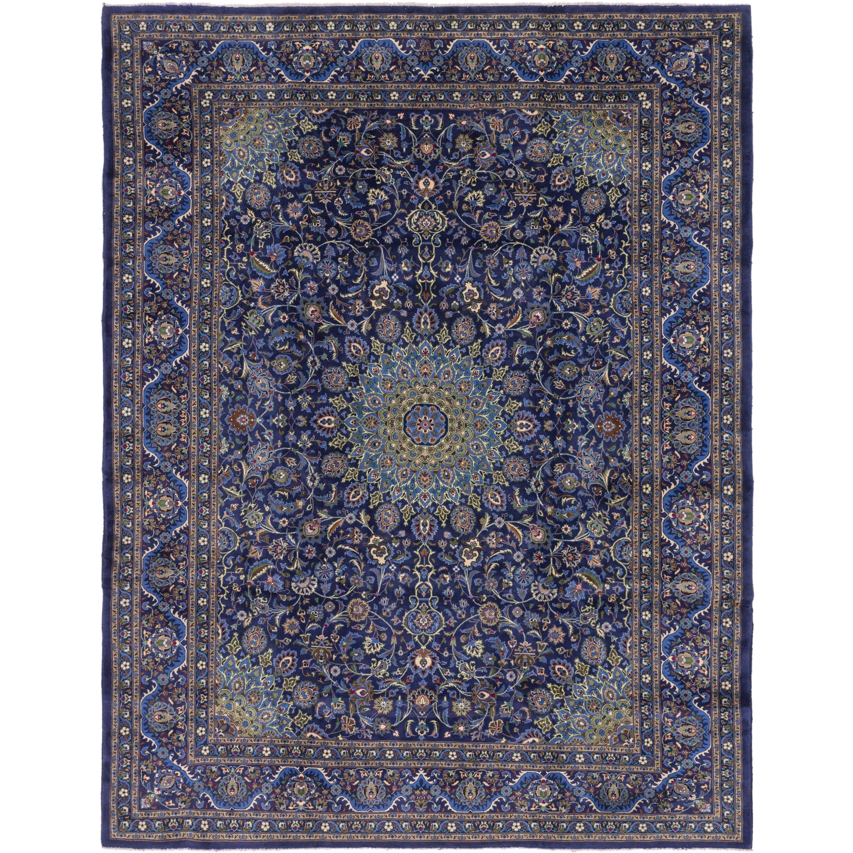 Hand Knotted Kashmar Semi Antique Wool Round Rug - 10 x 13 (Navy blue - 10 x 13)