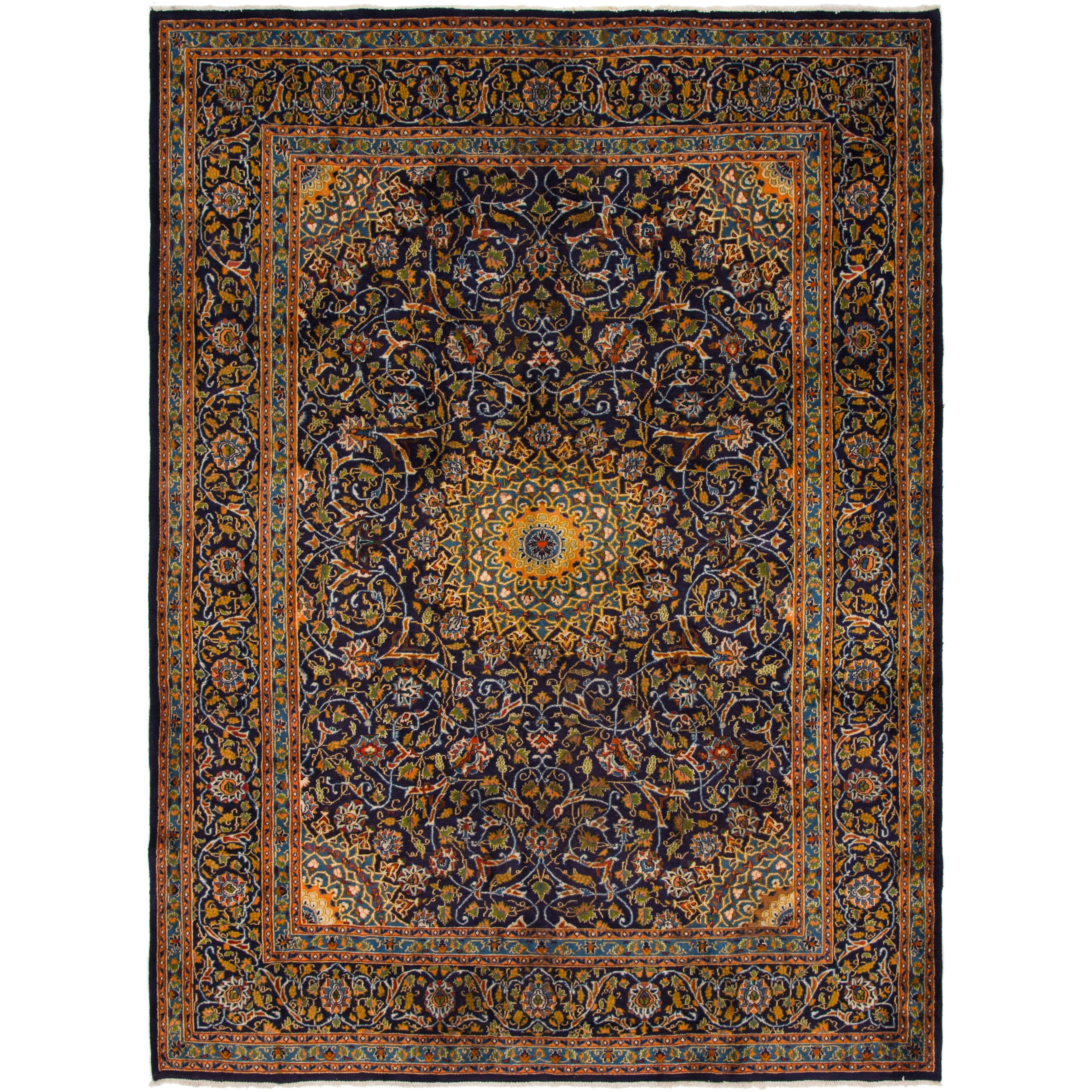 Hand Knotted Kashmar Semi Antique Wool Area Rug - 9 5 x 12 10 (Navy blue - 9 5 x 12 10)