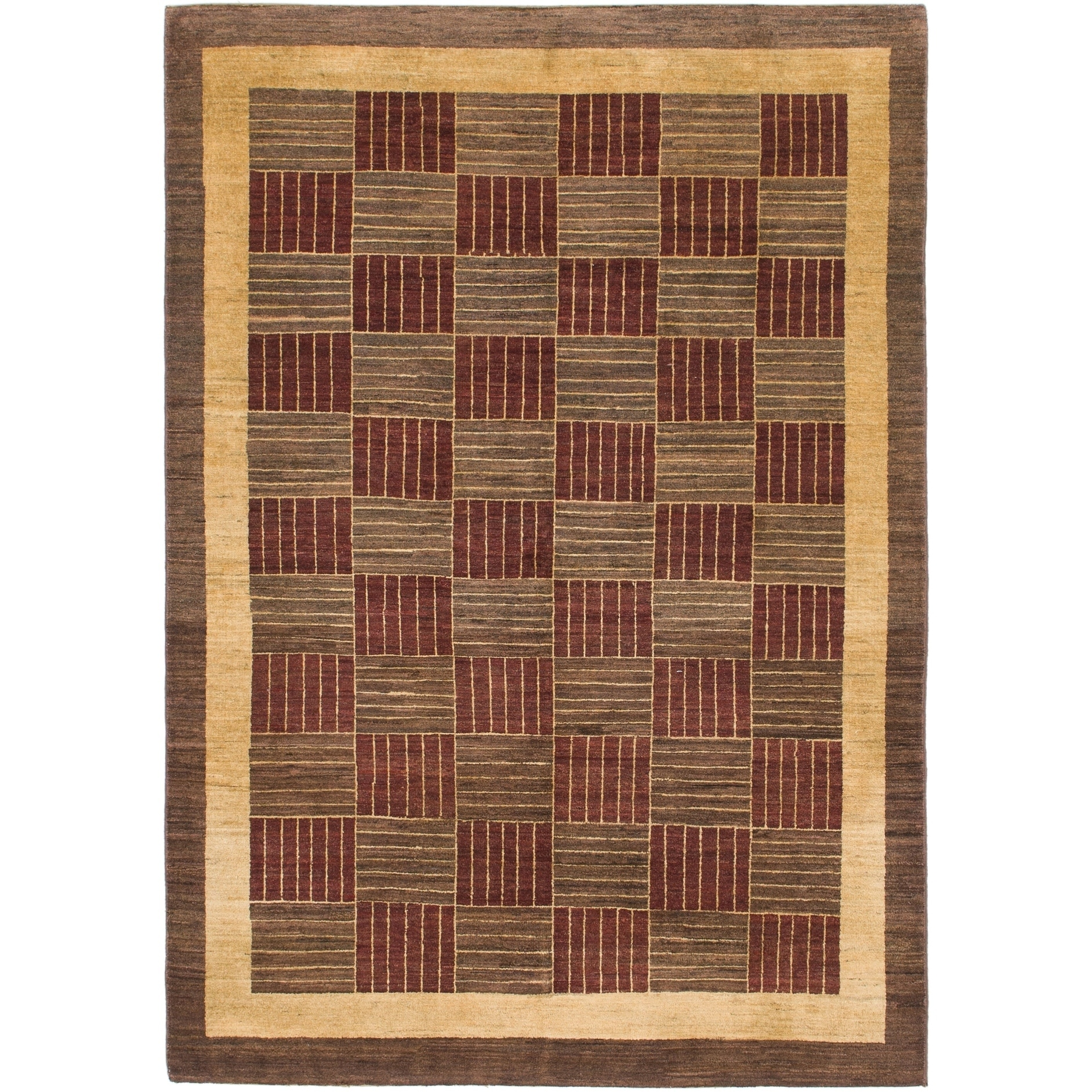Hand Knotted Kashkuli Gabbeh Wool Area Rug - 5 5 x 7 10 (Brown - 5 5 x 7 10)