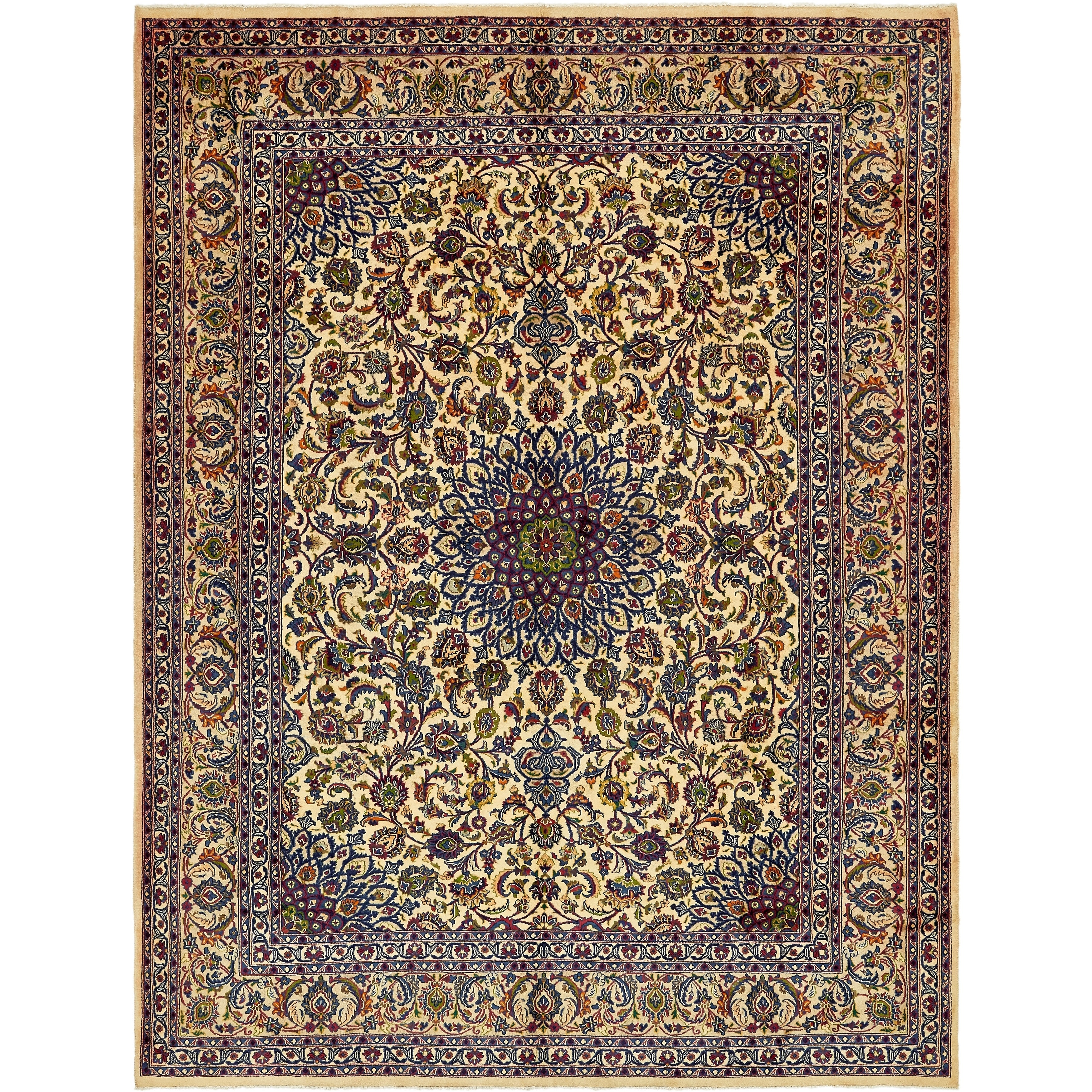 Hand Knotted Kashmar Semi Antique Wool Area Rug - 9 8 x 12 9 (Ivory - 9 8 x 12 9)