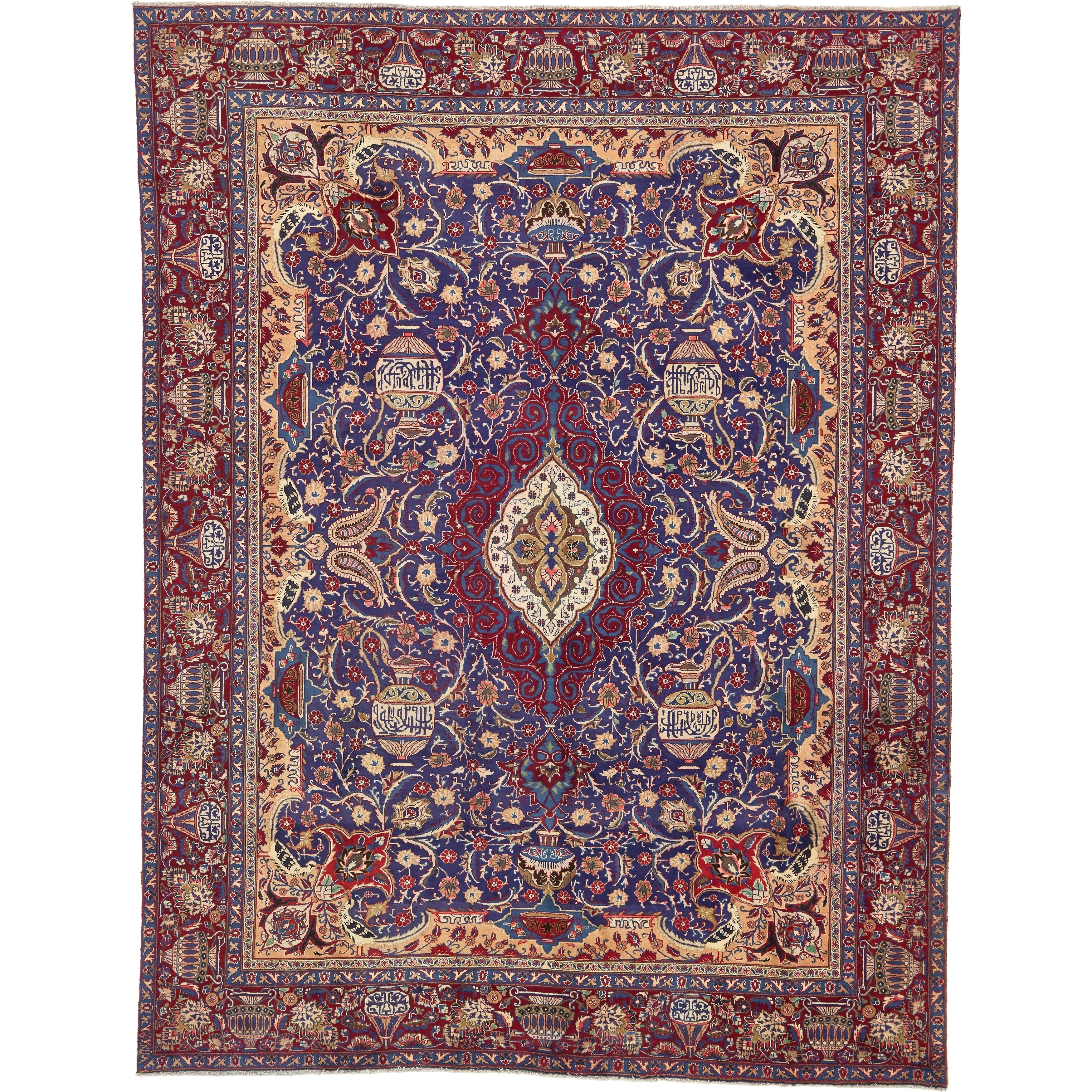 Hand Knotted Kashmar Semi Antique Wool Area Rug - 9 4 x 12 2 (Navy blue - 9 4 x 12 2)