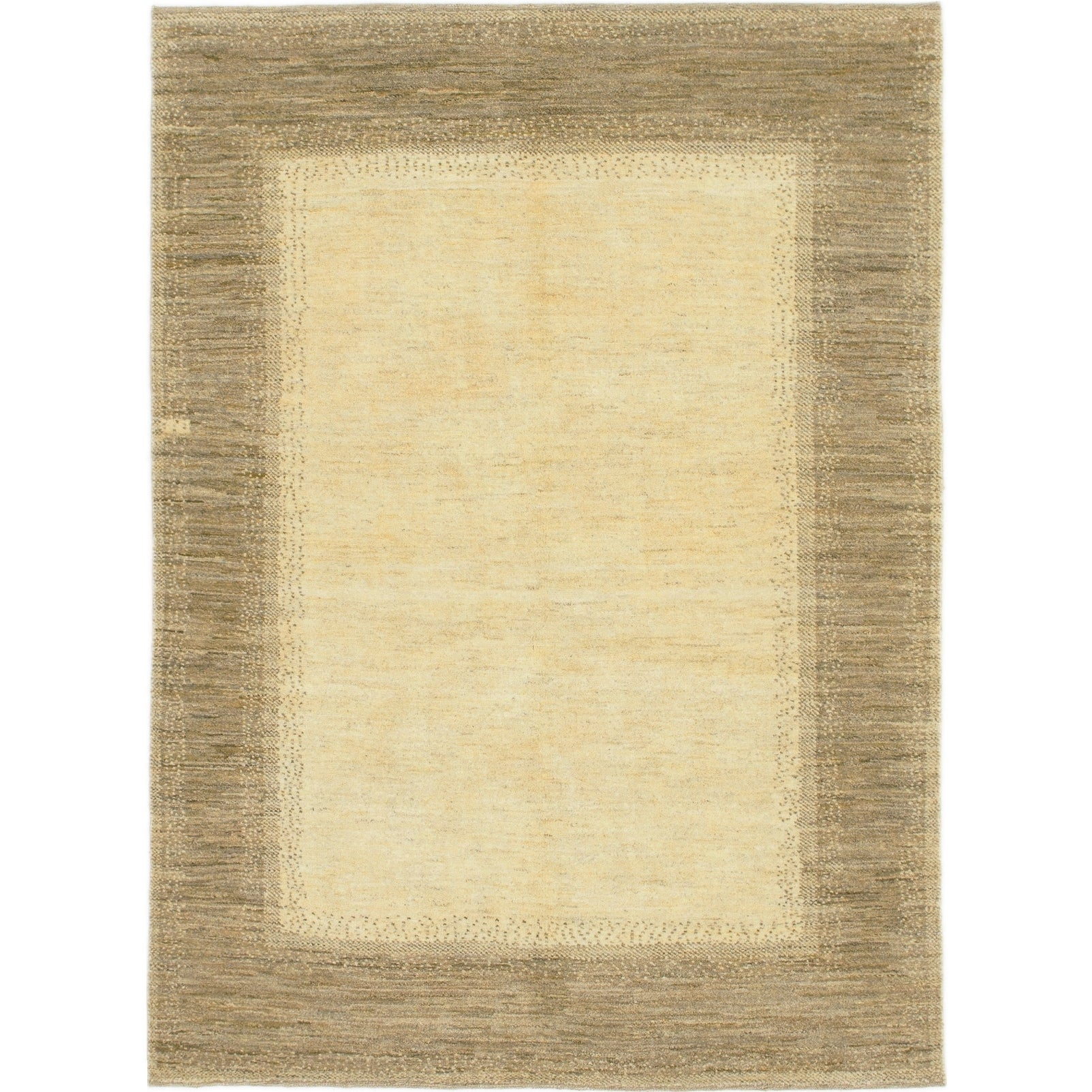 Hand Knotted Kashkuli Gabbeh Wool Area Rug - 4 9 x 6 7 (Cream - 4 9 x 6 7)