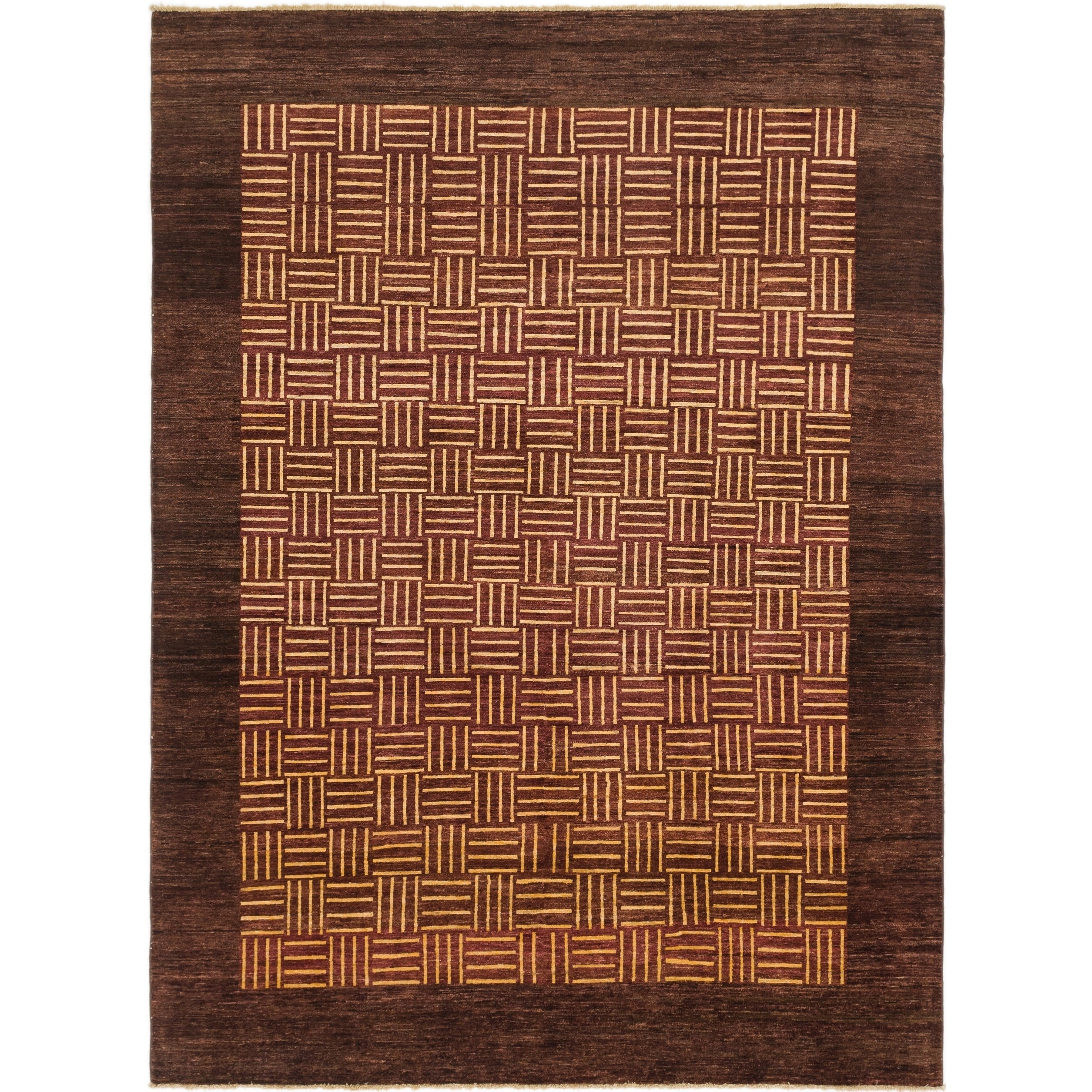 Hand Knotted Kashkuli Gabbeh Wool Area Rug - 7 6 x 10 (Plum Red - 7 6 x 10)