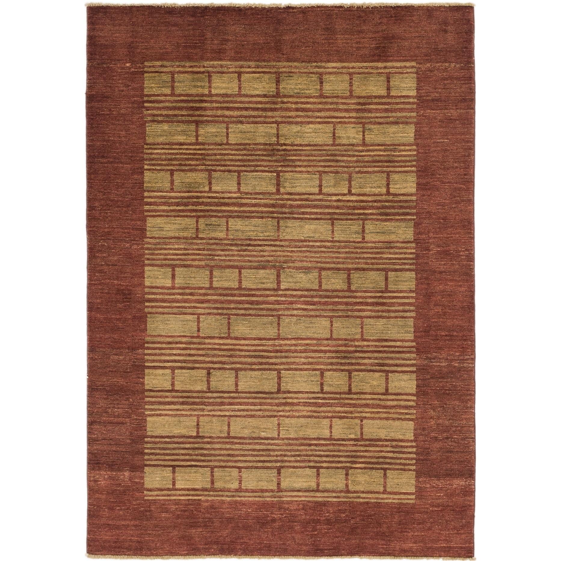 Hand Knotted Kashkuli Gabbeh Wool Area Rug - 5 6 x 7 10 (Burgundy - 5 6 x 7 10)