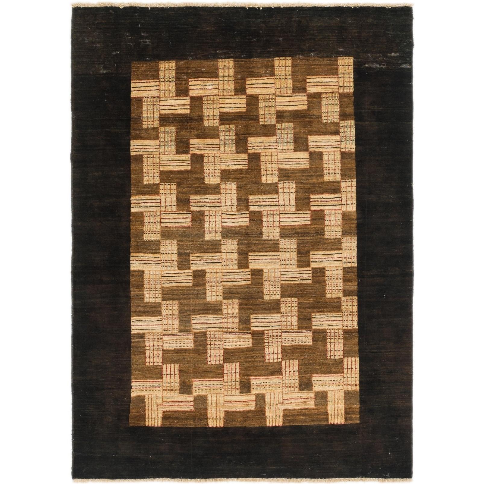 Hand Knotted Kashkuli Gabbeh Wool Area Rug - 4 10 x 6 8 (Black - 4 10 x 6 8)