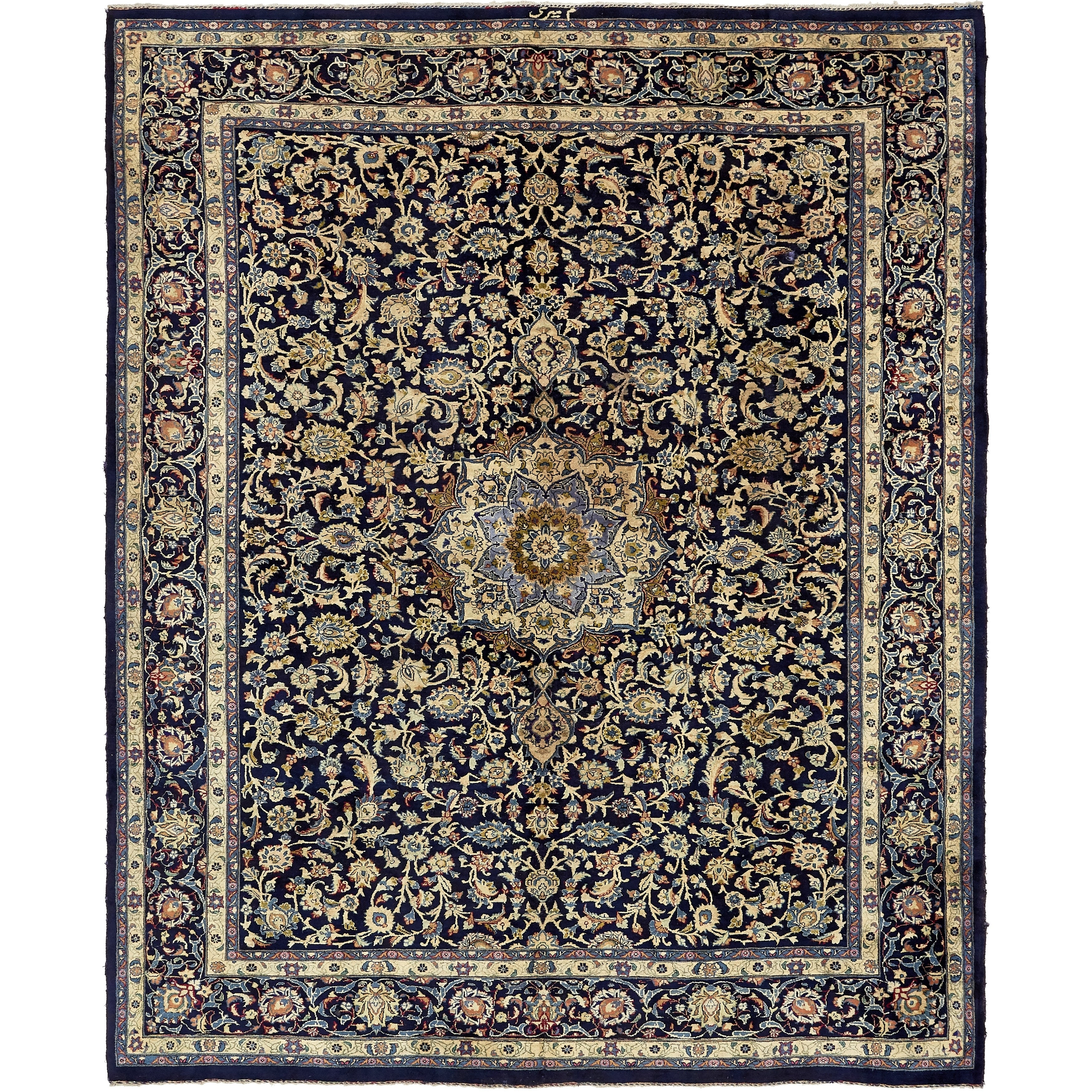 Hand Knotted Kashmar Semi Antique Wool Area Rug - 10 2 x 12 7 (Navy blue - 10 2 x 12 7)