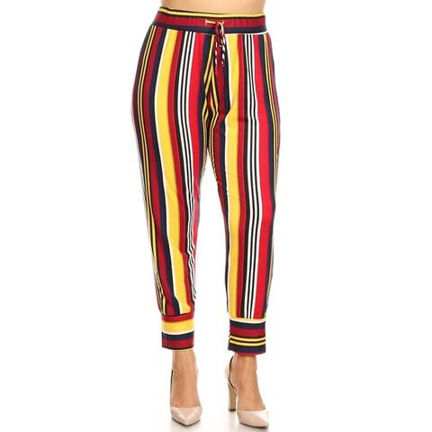 Women's Multi-Colored Striped Plus Size Harlem Pants