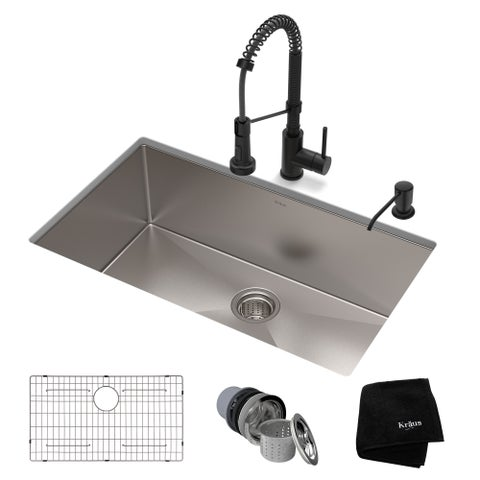 Kraus 30-inch Stainless Steel Kitchen Sink, Faucet, Soap Dispenser Set