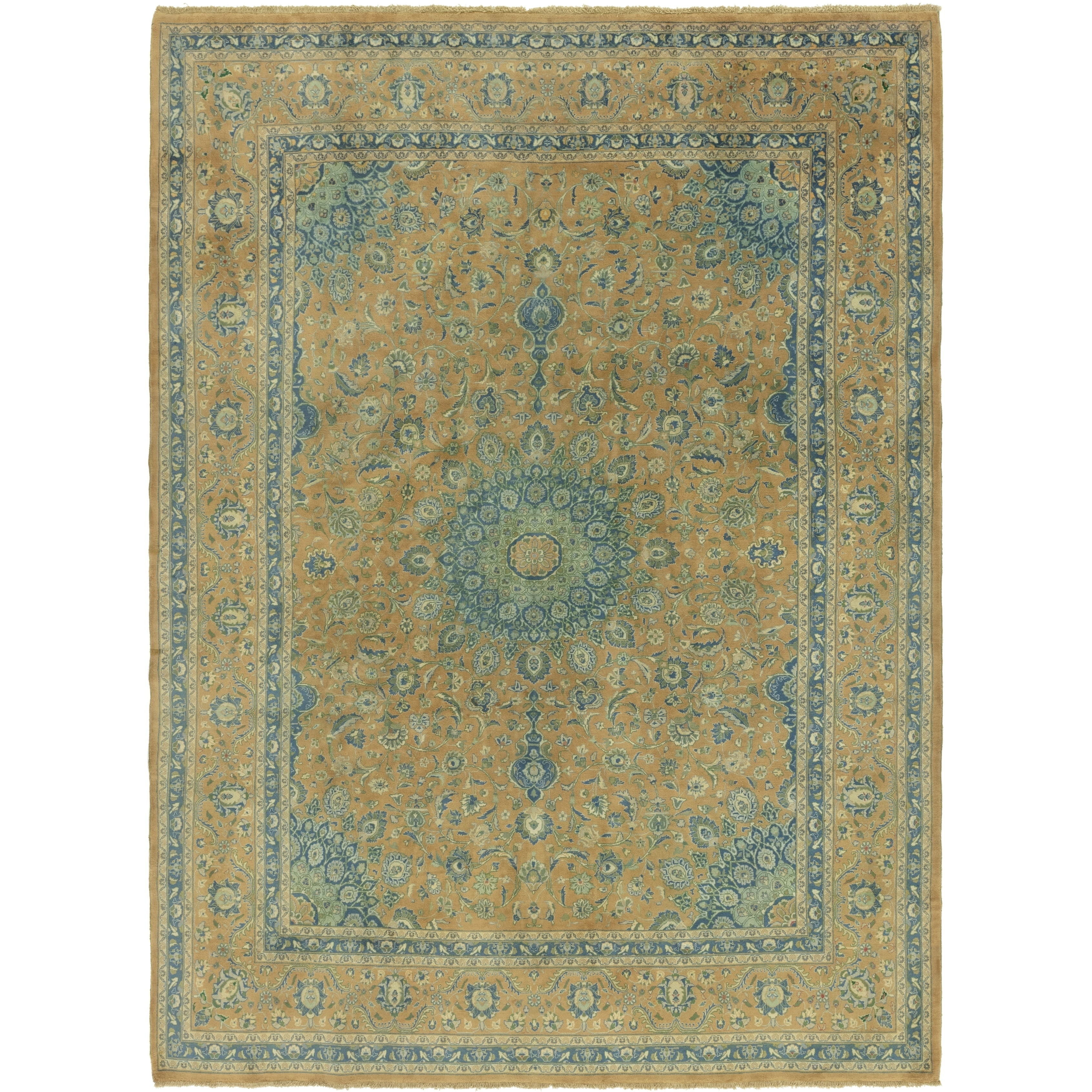 Hand Knotted Kashmar Semi Antique Wool Area Rug - 9 8 x 13 3 (peach - 9 8 x 13 3)