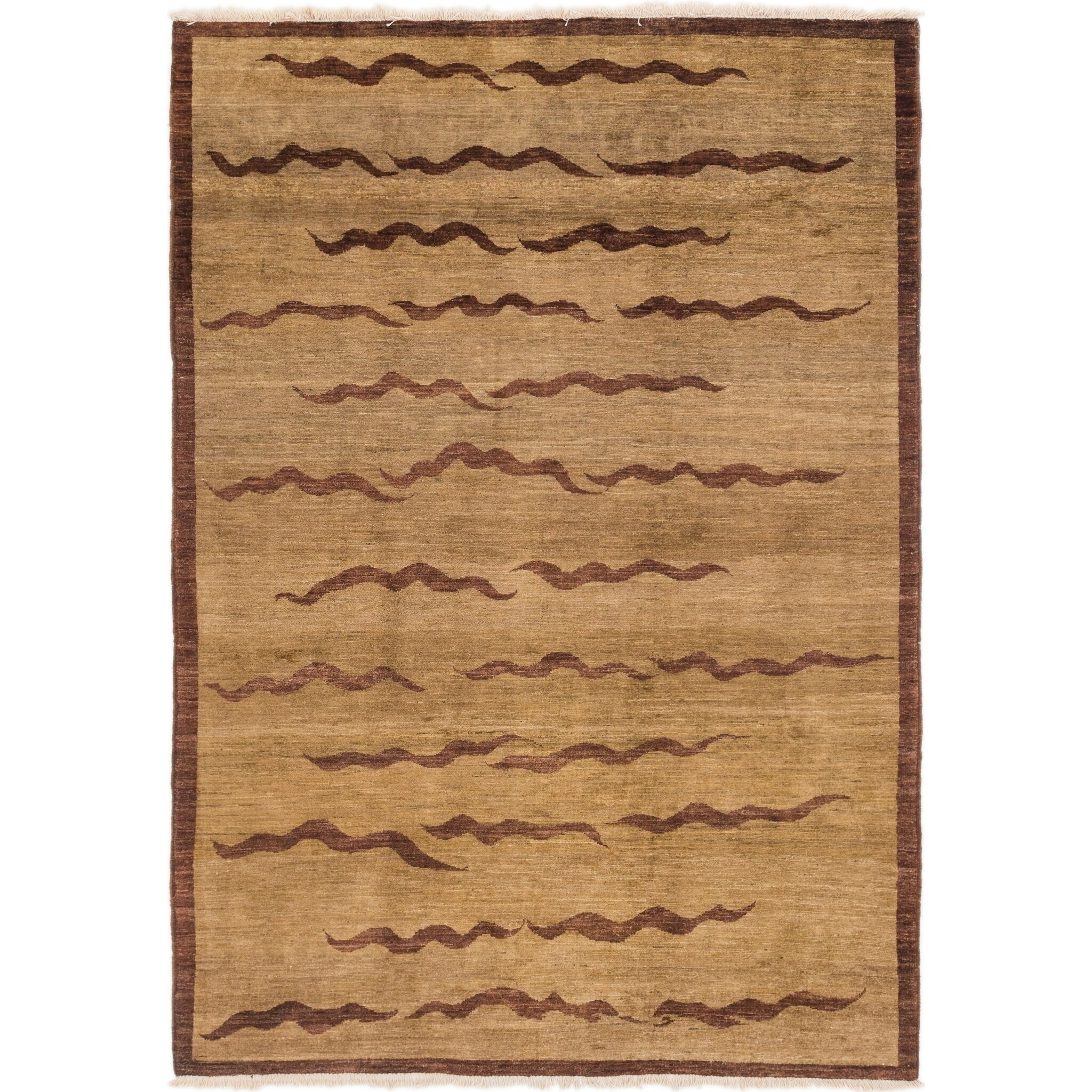 Hand Knotted Kashkuli Gabbeh Wool Area Rug - 6 x 8 8 (Light brown - 6 x 8 8)