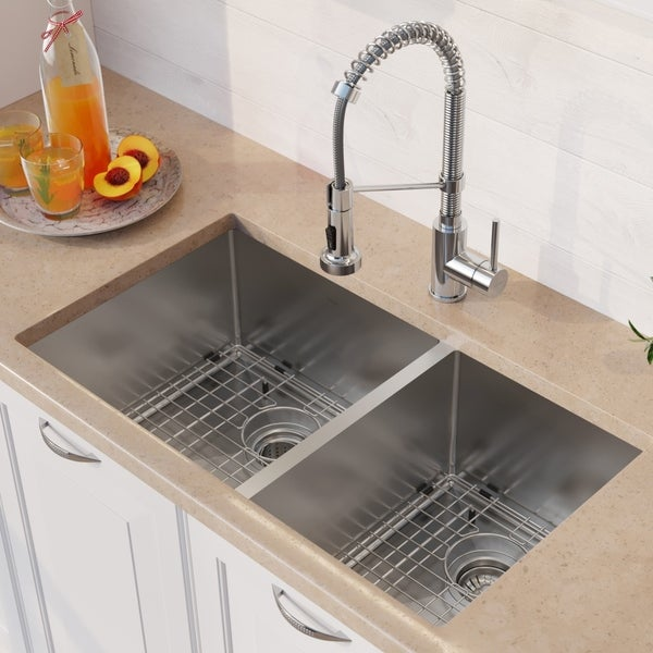 Shop Kraus 33-inch Stainless Steel Kitchen Sink, Faucet, Soap ...