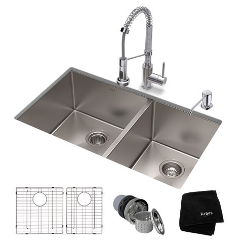 Kraus 33-inch Stainless Steel Kitchen Sink, Faucet, Soap Dispenser Set
