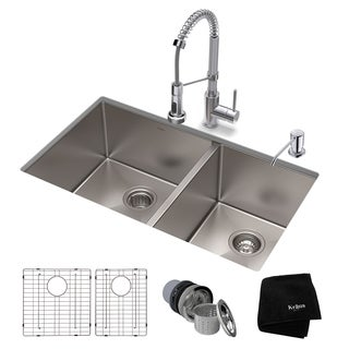 Kraus 33-inch Stainless Steel Kitchen Sink, Faucet, Soap Dispenser Set