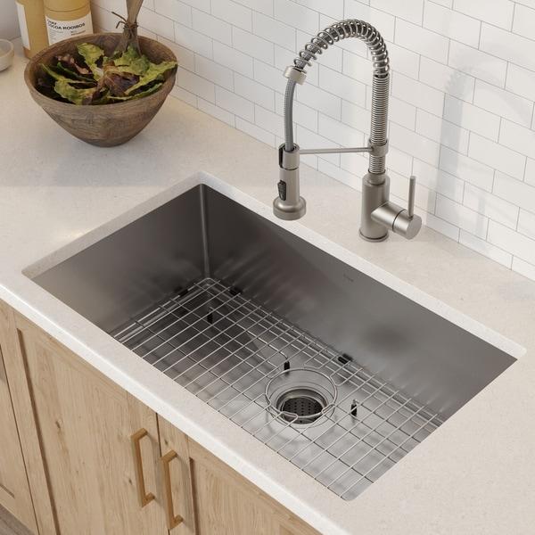 Kraus 32 Inch Stainless Steel Kitchen Sink Faucet Soap Dispenser Set