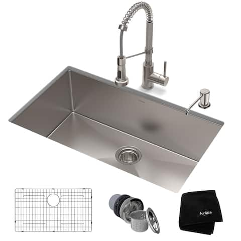 Kraus 32-inch Stainless Steel Kitchen Sink, Faucet, Soap Dispenser Set