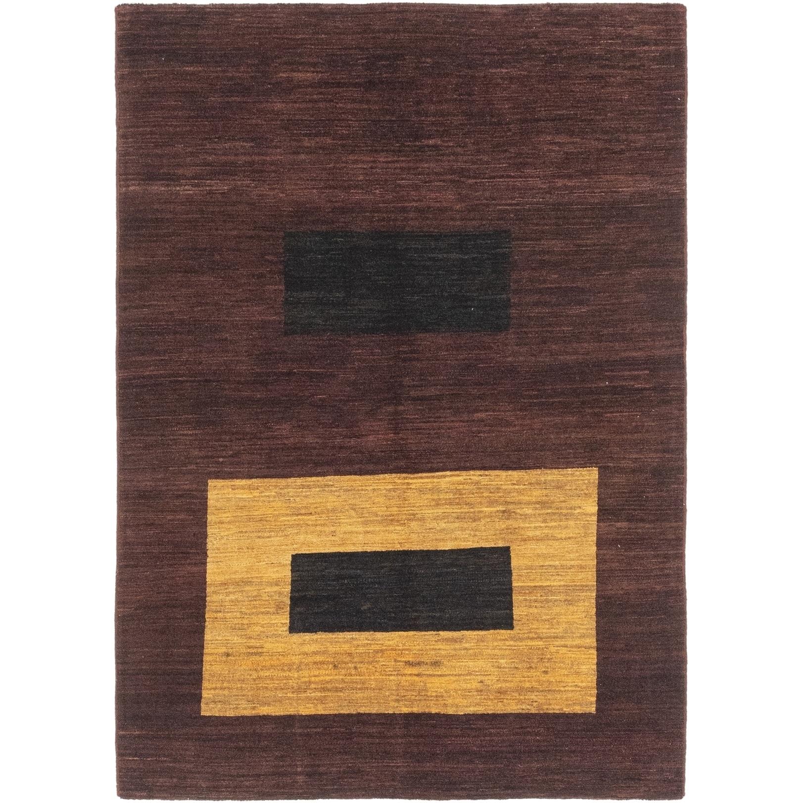 Hand Knotted Kashkuli Gabbeh Wool Area Rug - 4 9 x 6 8 (Burgundy - 4 9 x 6 8)
