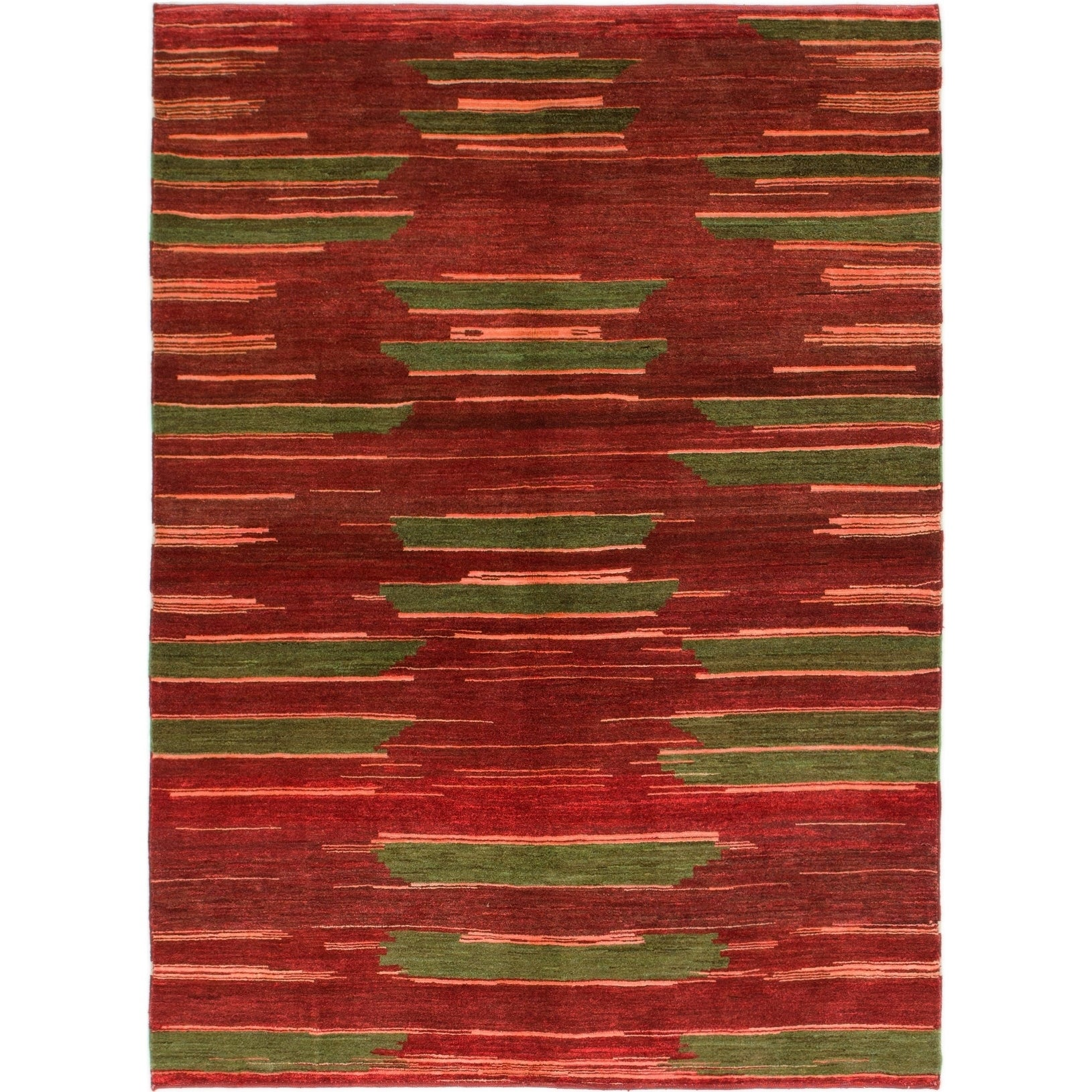 Hand Knotted Kashkuli Gabbeh Wool Area Rug - 5 x 6 9 (Red - 5 x 6 9)