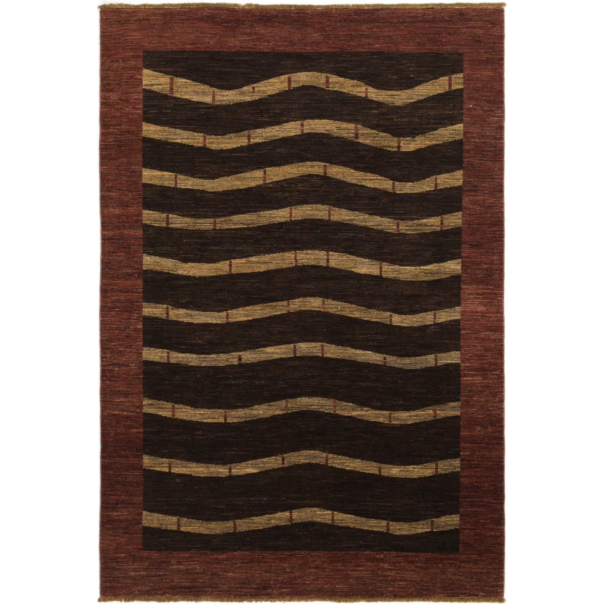 Hand Knotted Kashkuli Gabbeh Wool Area Rug - 6 x 9 (Brown - 6 x 9)