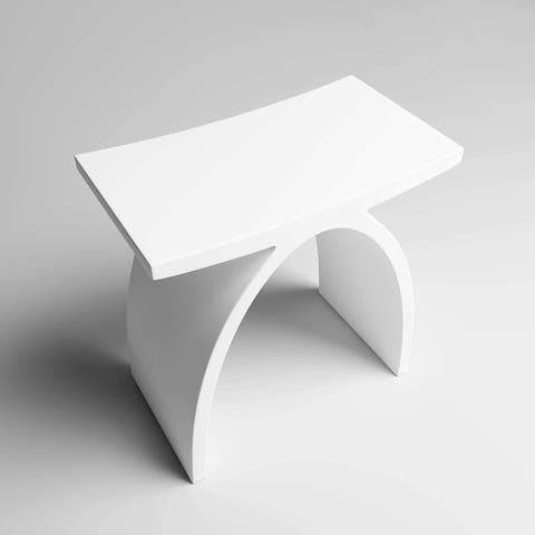 CS301 Solid Surface Vanity Seat - Matte White