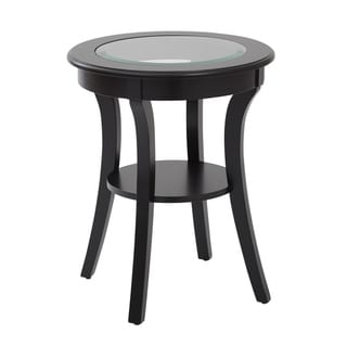 OSP Home Furnishings Harper Round Accent Table with Glass Top