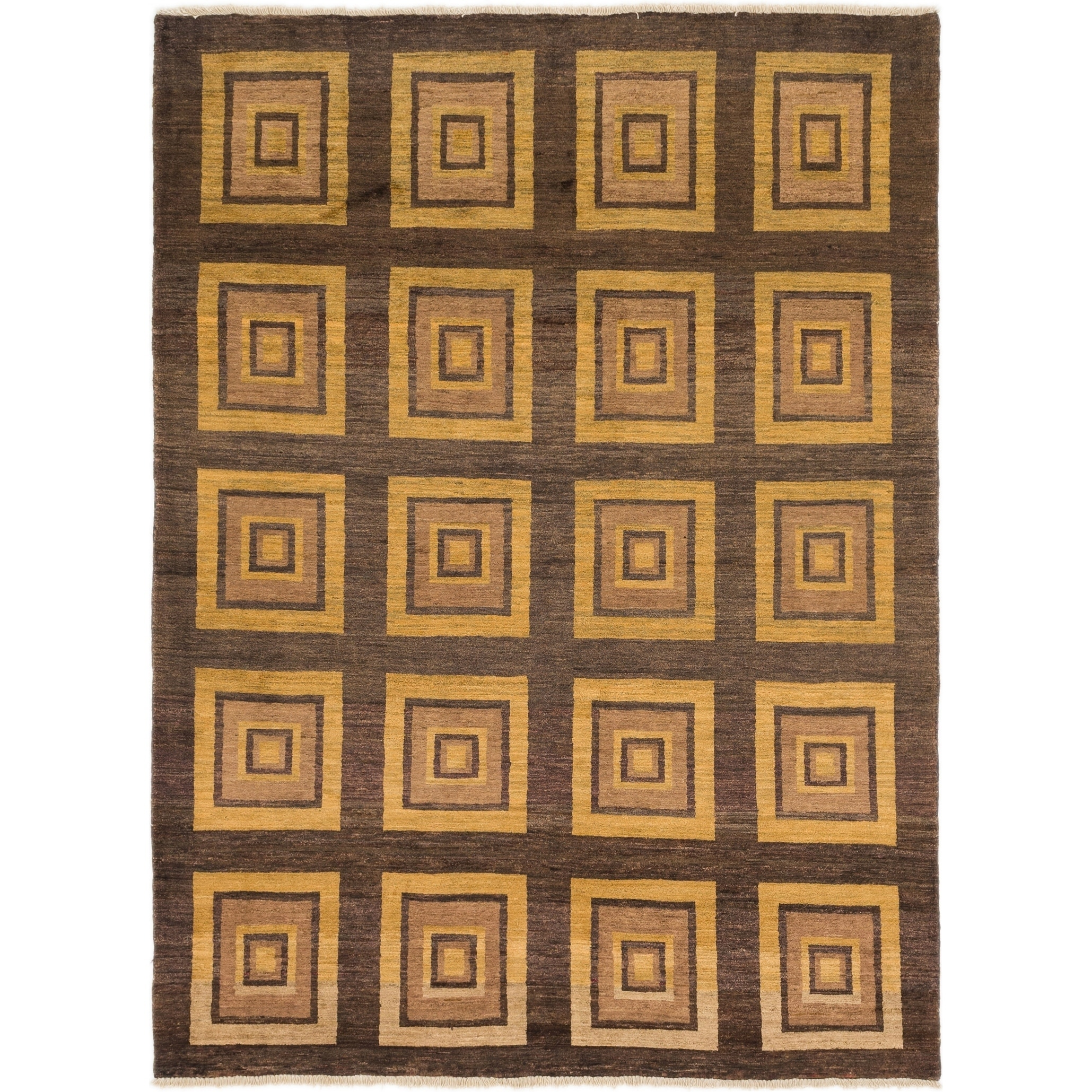 Hand Knotted Kashkuli Gabbeh Wool Area Rug - 6 x 8 2 (Brown - 6 x 8 2)