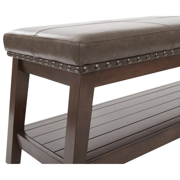 Pleasant Emery Entry Bench With Mocha Rustic Bonded Leather Gmtry Best Dining Table And Chair Ideas Images Gmtryco