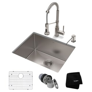 Kraus 23-inch Stainless Steel Kitchen Sink, Faucet, Soap Dispenser Set