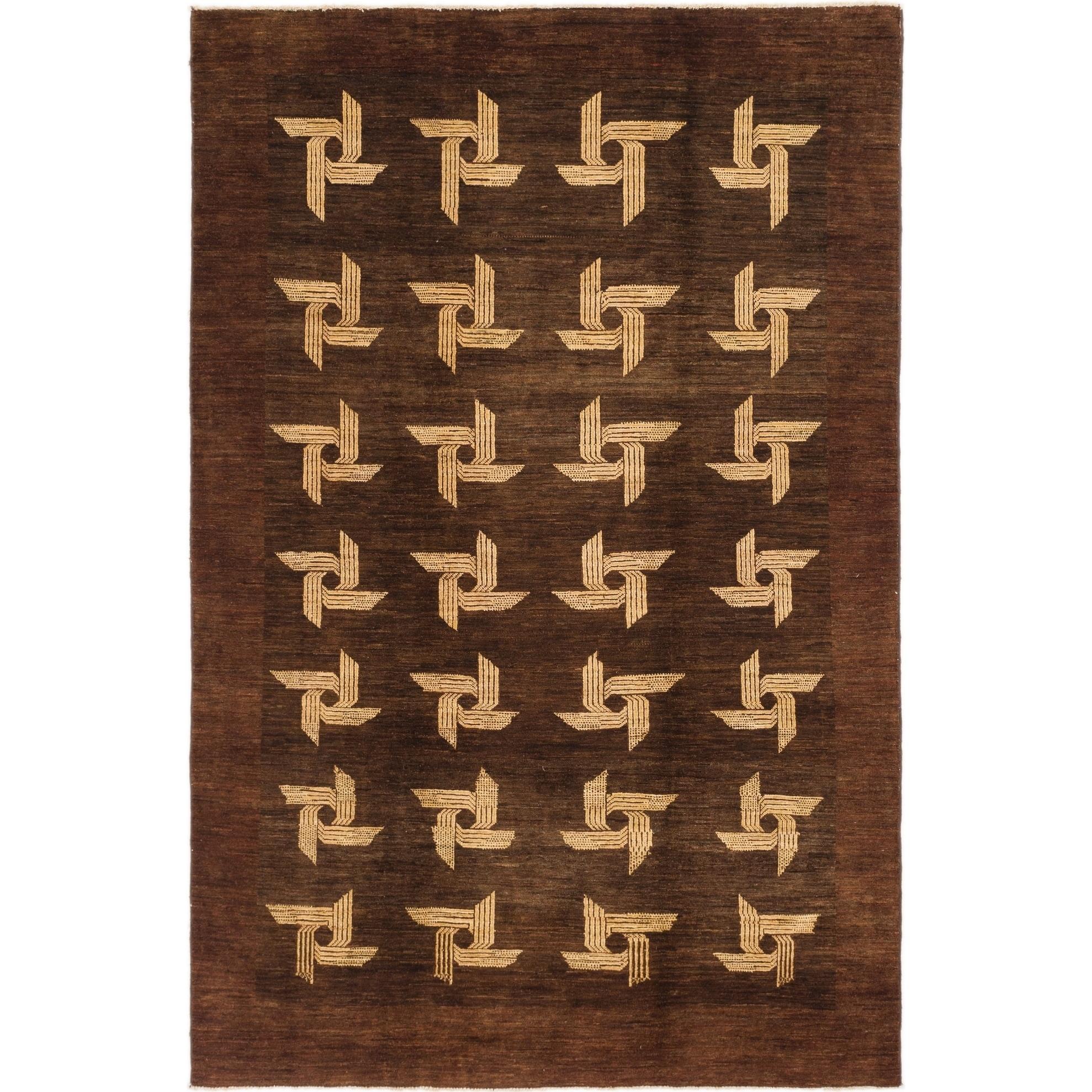 Hand Knotted Kashkuli Gabbeh Wool Area Rug - 6 x 8 10 (Maroon - 6 x 8 10)