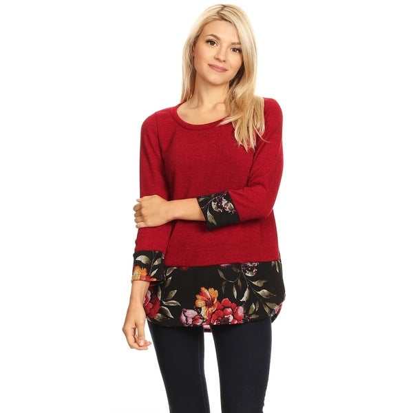 Women's Casual Lightweight Solid Tunic Top
