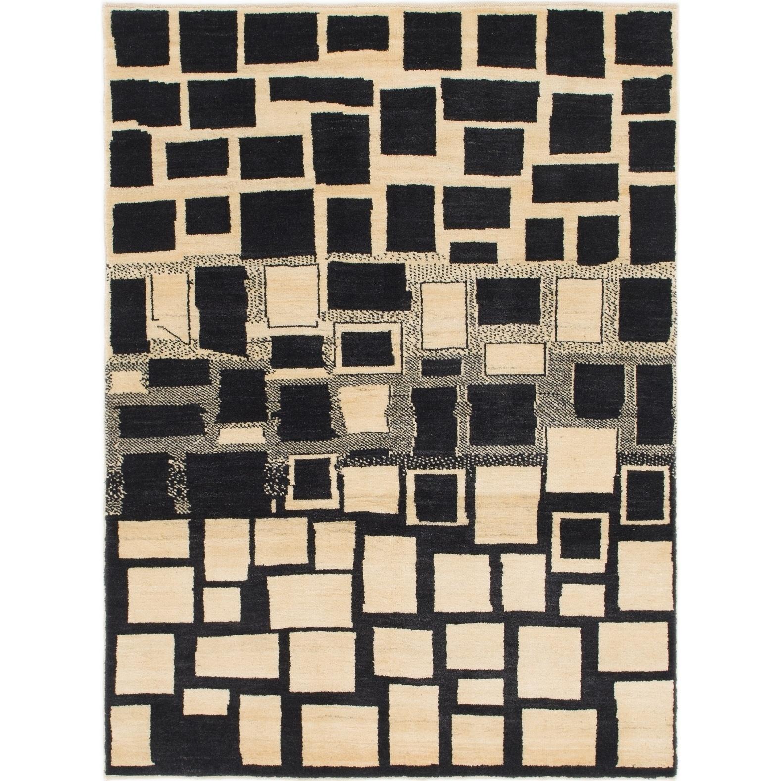 Hand Knotted Kashkuli Gabbeh Wool Area Rug - 4 8 x 6 4 (Black - 4 8 x 6 4)
