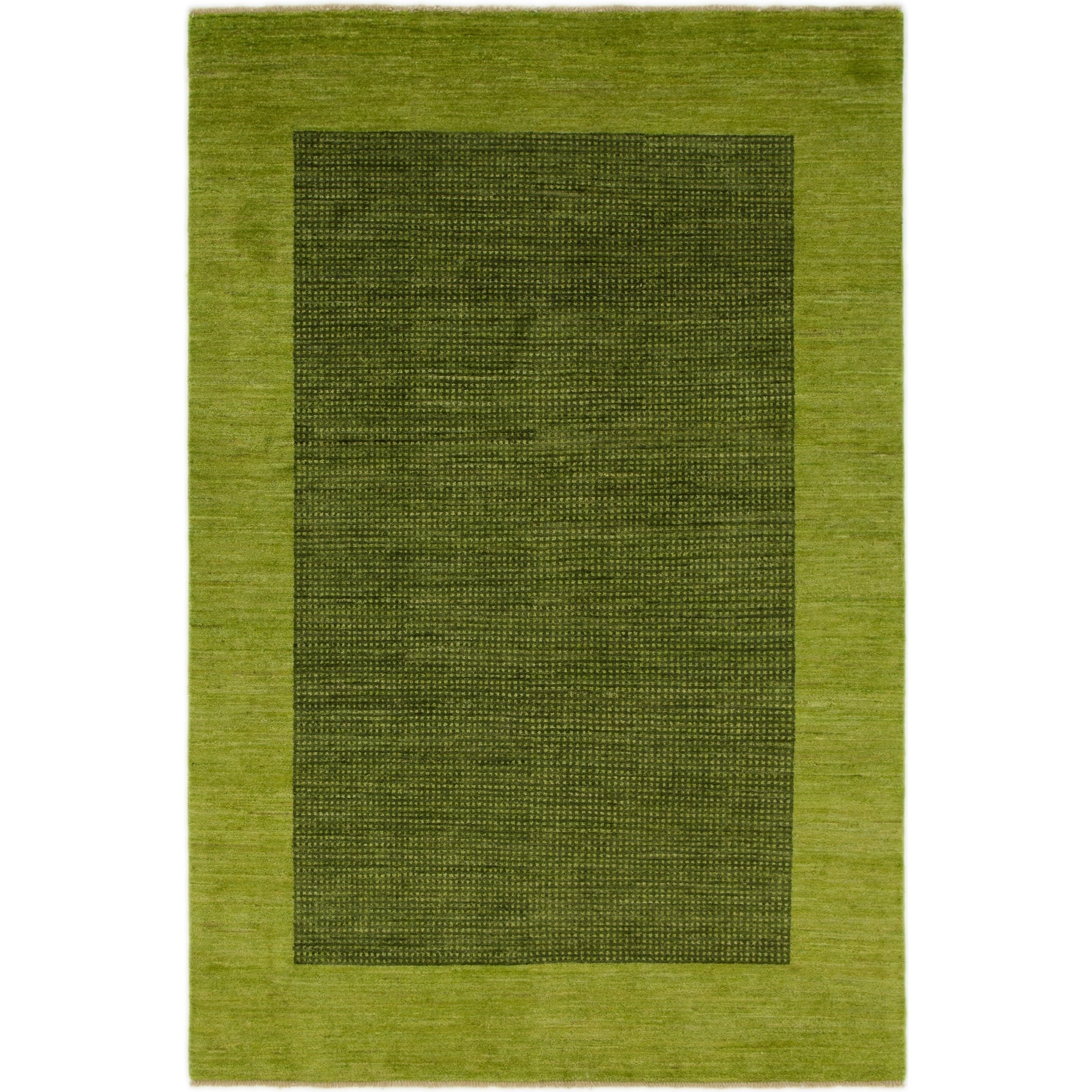 Hand Knotted Kashkuli Gabbeh Wool Area Rug - 5 5 x 8 2 (Green - 5 5 x 8 2)