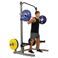 Sunny Health & Fitness Power and Squat Rack, High Weight Capacity, Olympic Weight Plate Storage and 360° Swivel Landmine