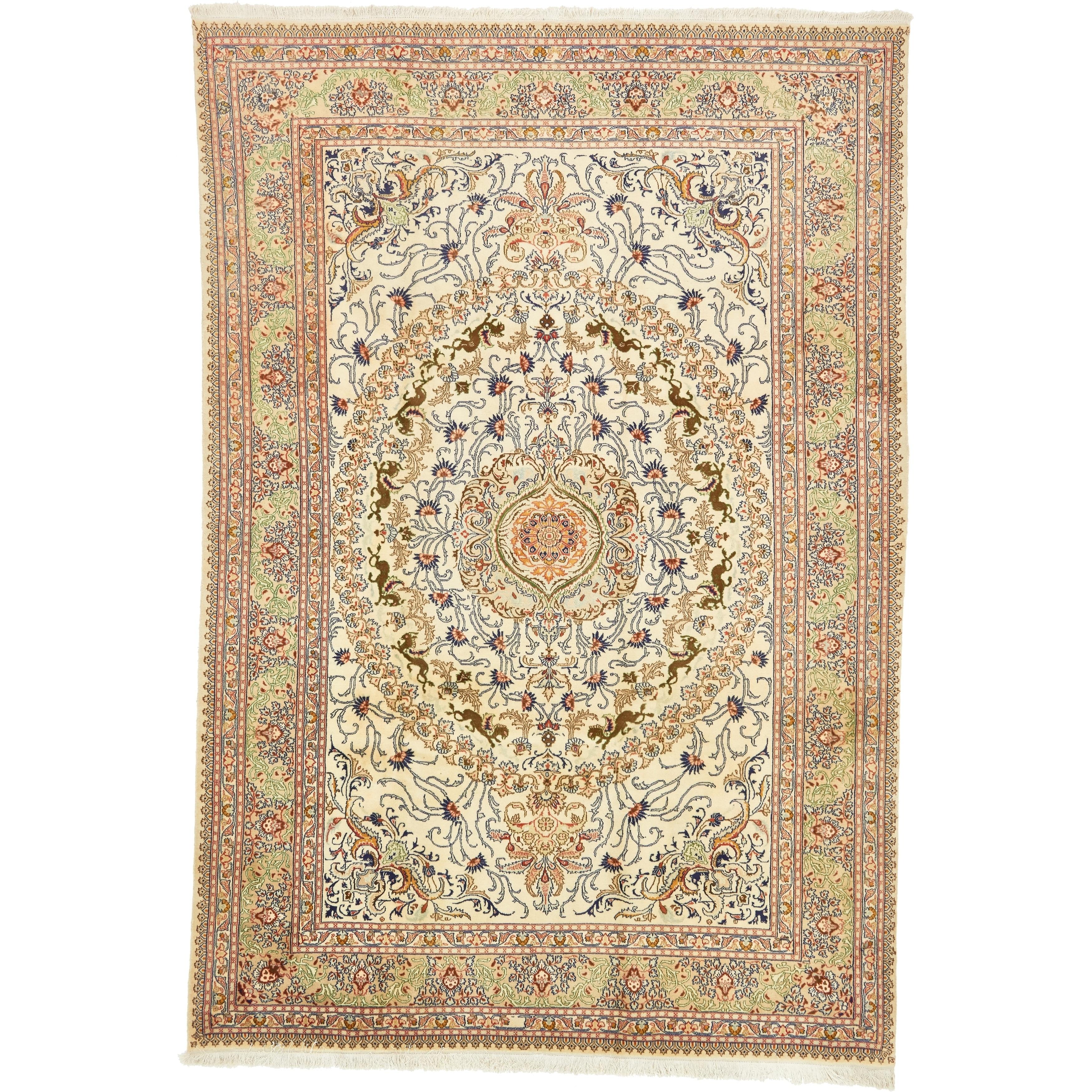 Hand Knotted Kashmar Kork Wool Area Rug - 8 x 11 7 (Ivory - 8 x 11 7)