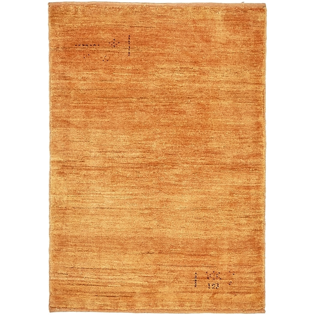 Hand Knotted Kashkuli Gabbeh Wool Area Rug - 2 10 x 4 1 (Orange - 2 10 x 4 1)