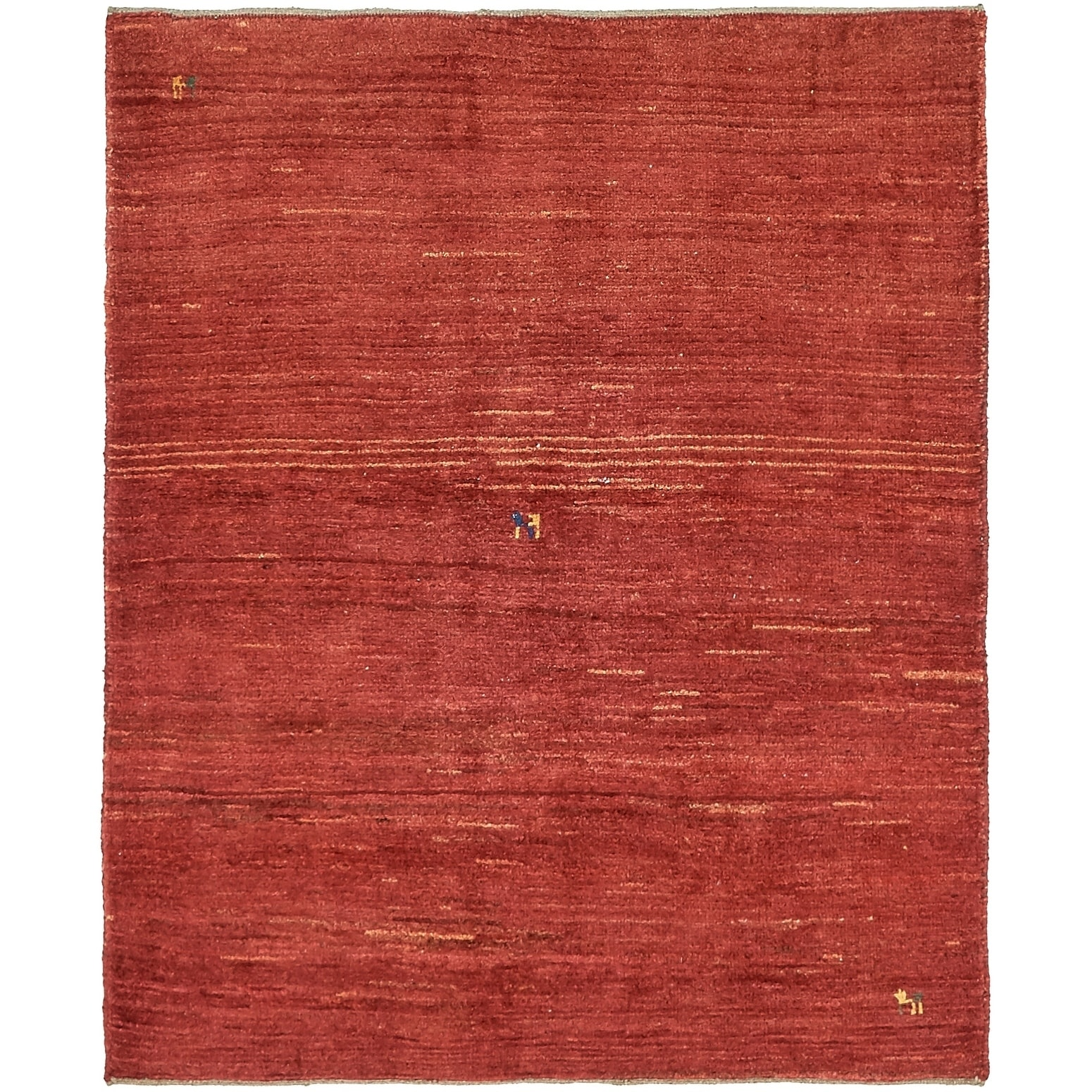Hand Knotted Kashkuli Gabbeh Wool Area Rug - 4 1 x 5 (Red - 4 1 x 5)