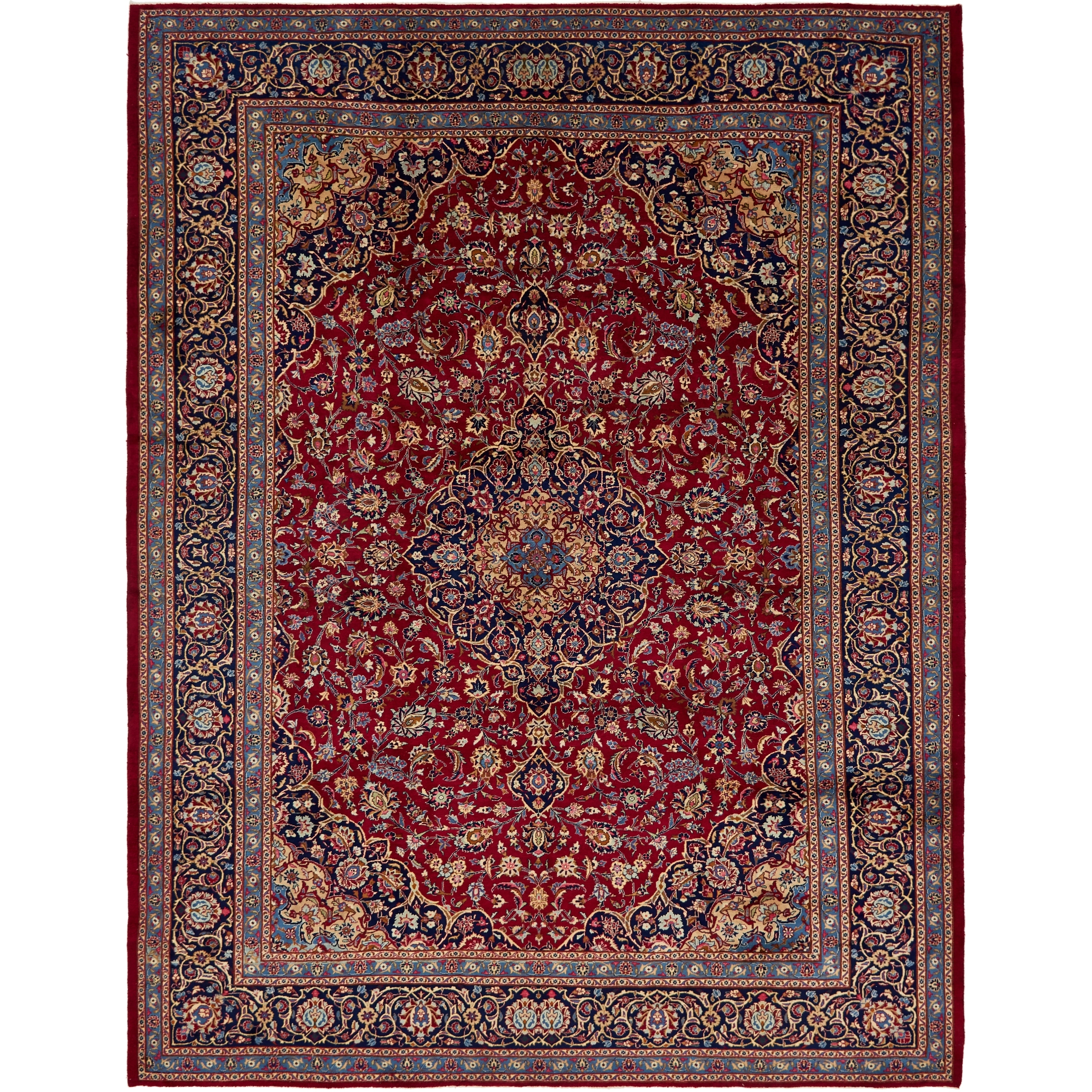 Hand Knotted Kashmar Semi Antique Wool Area Rug - 10 x 12 10 (Red - 10 x 12 10)