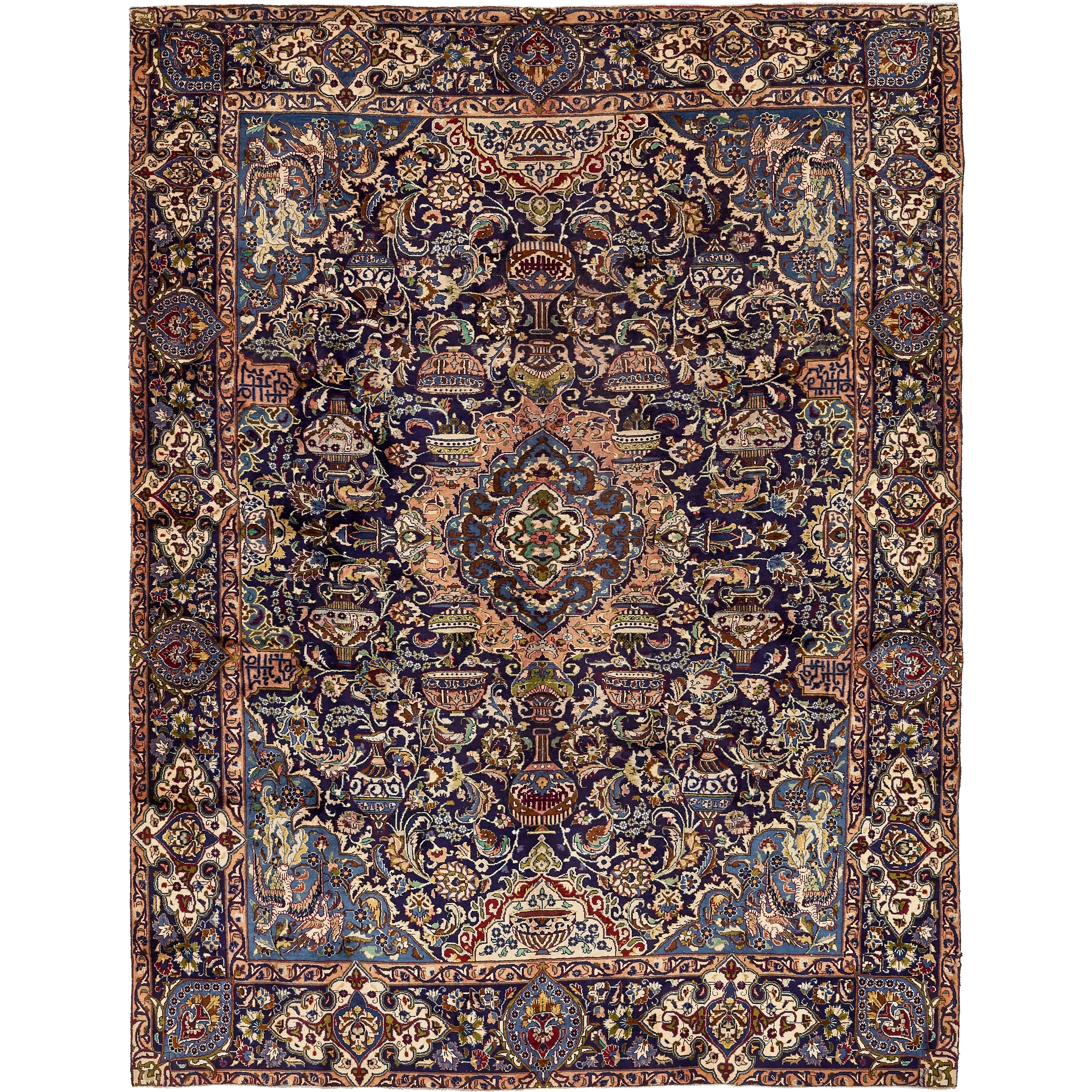 Hand Knotted Kashmar Semi Antique Wool Area Rug - 9 1 x 11 11 (Navy blue - 9 1 x 11 11)