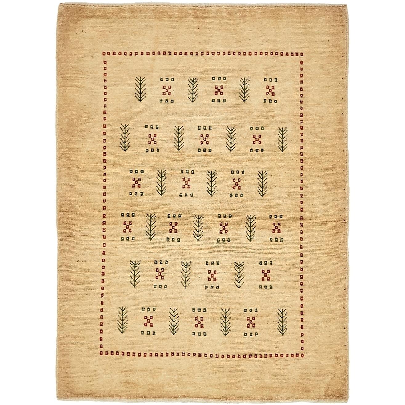 Hand Knotted Kashkuli Gabbeh Wool Area Rug - 3 7 x 5 (Beige - 3 7 x 5)
