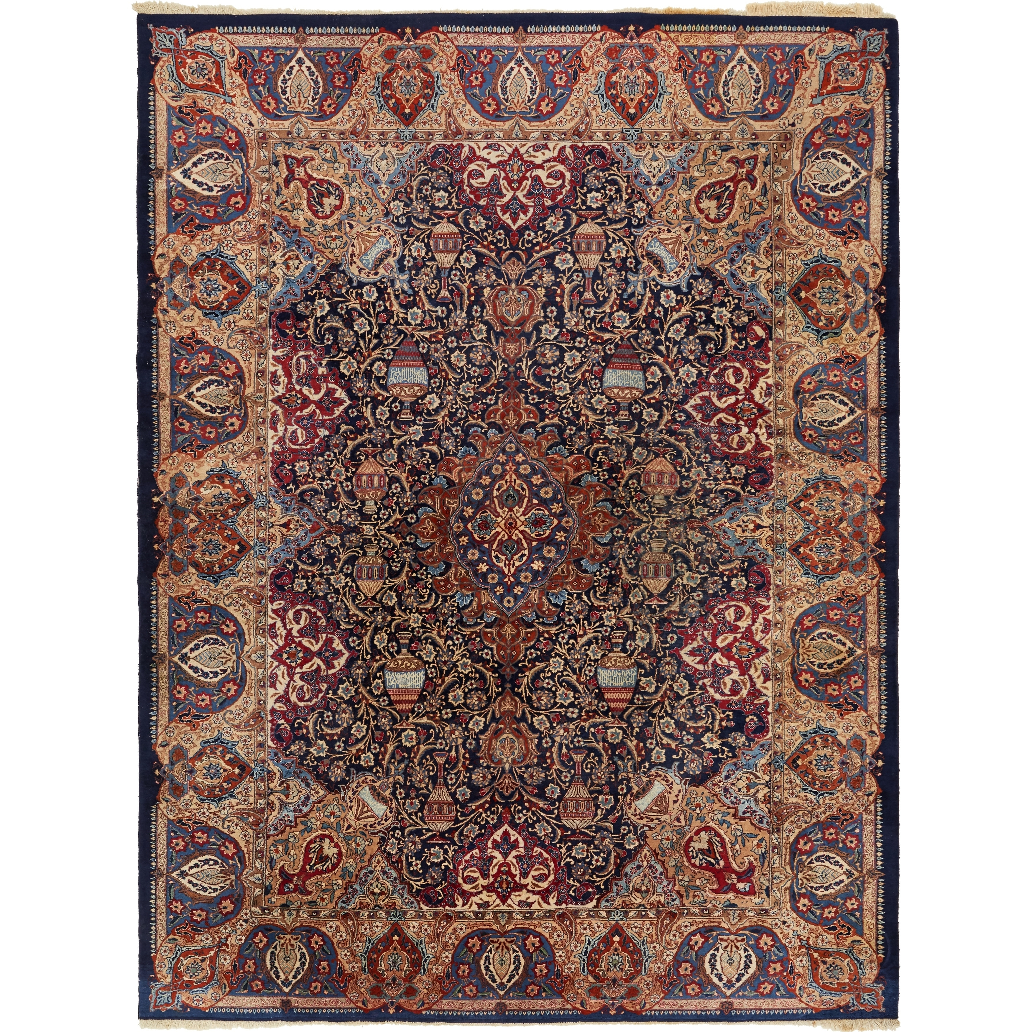 Hand Knotted Kashmar Wool Area Rug - 10 2 x 13 3 (Navy blue - 10 2 x 13 3)