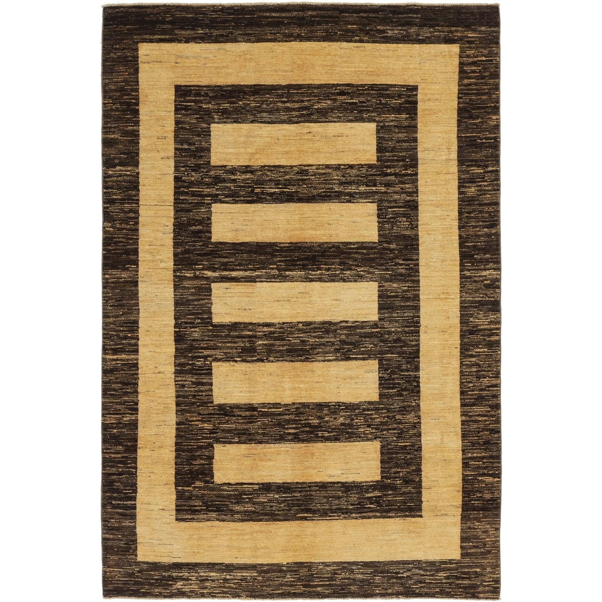 Hand Knotted Kashkuli Gabbeh Wool Area Rug - 5 9 x 8 9 (Dark brown - 5 9 x 8 9)