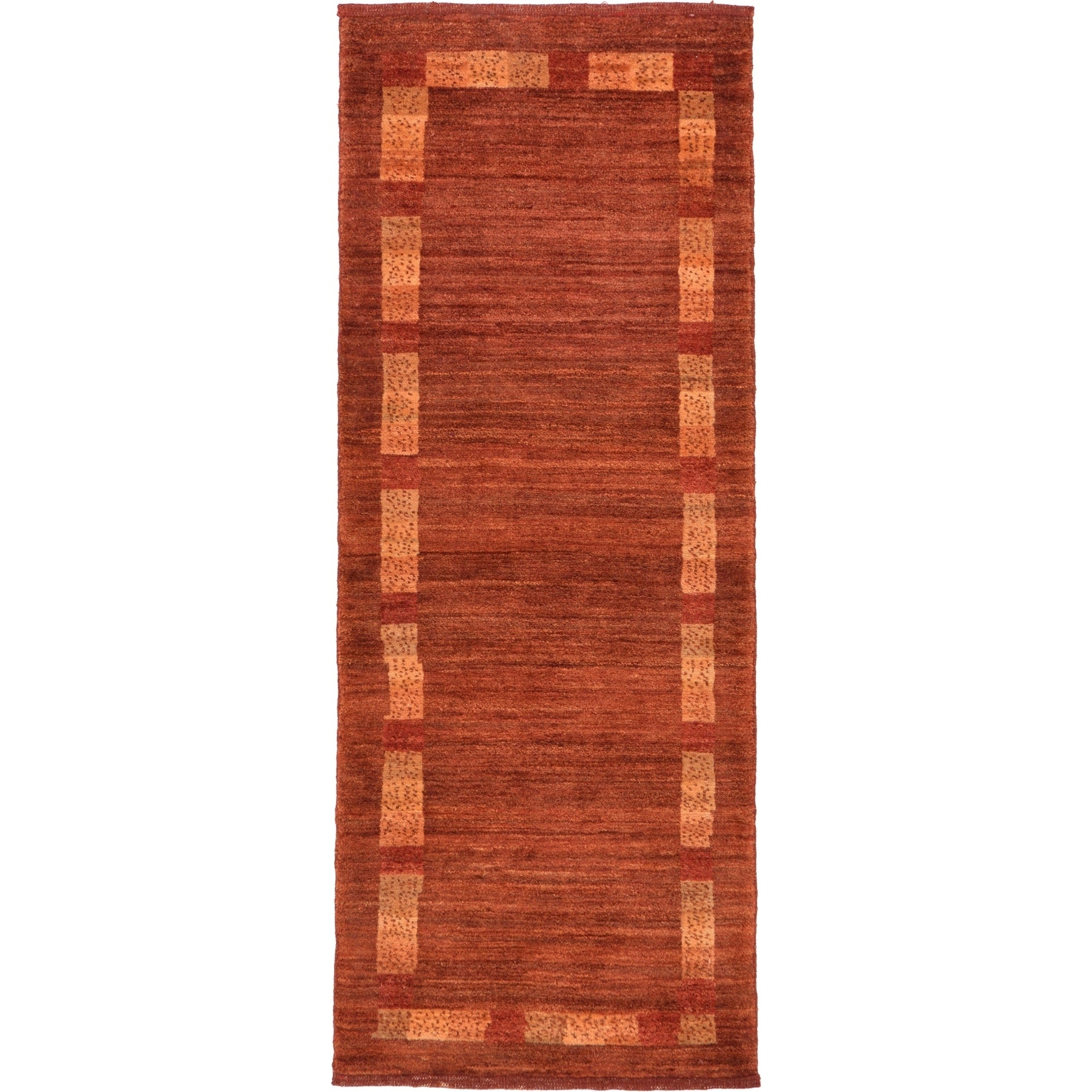 Hand Knotted Kashkuli Gabbeh Wool Runner Rug - 1 10 x 4 8 (Rust Red - 1 10 x 4 8)