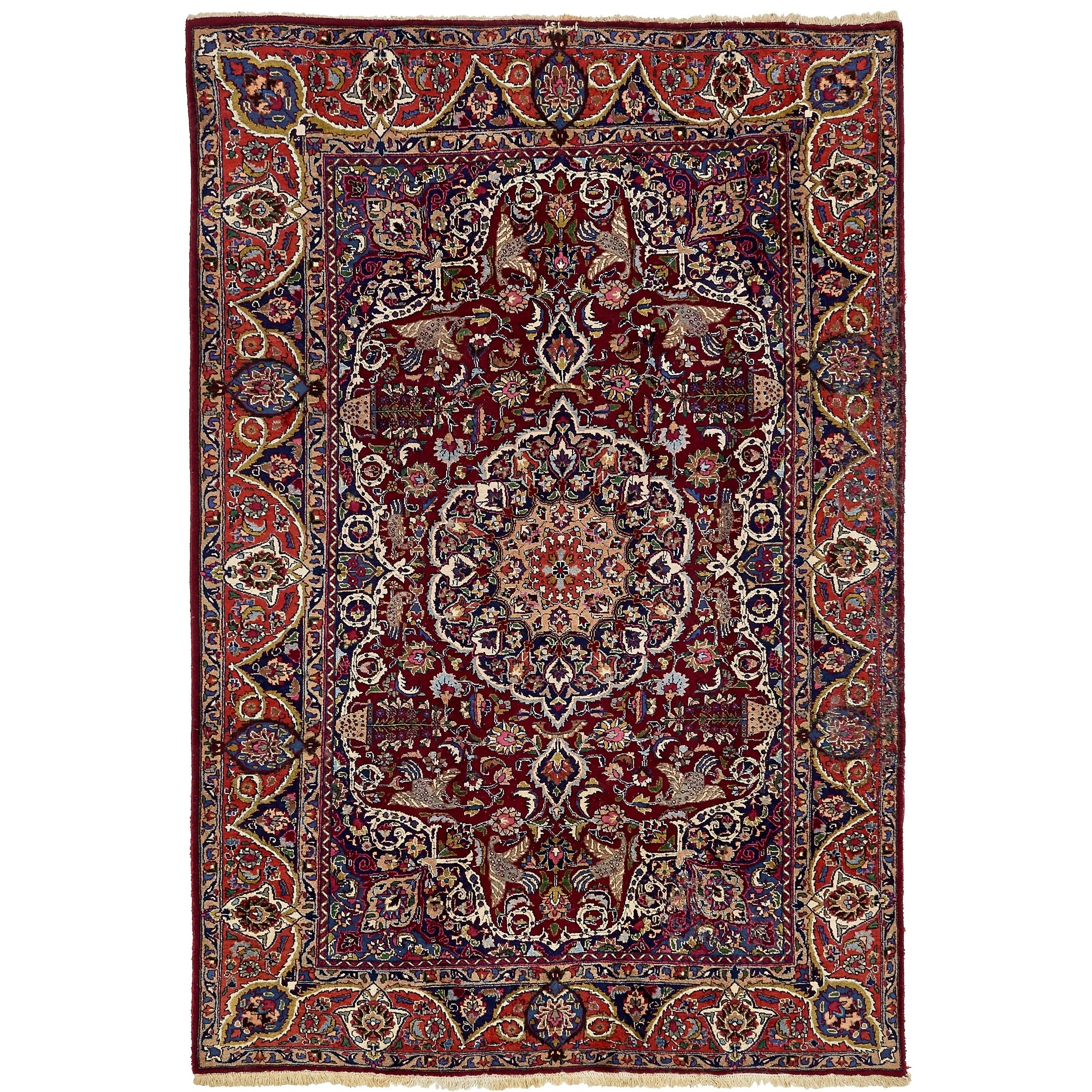 Hand Knotted Kashmar Semi Antique Wool Area Rug - 6 6 x 9 7 (Red - 6 6 x 9 7)