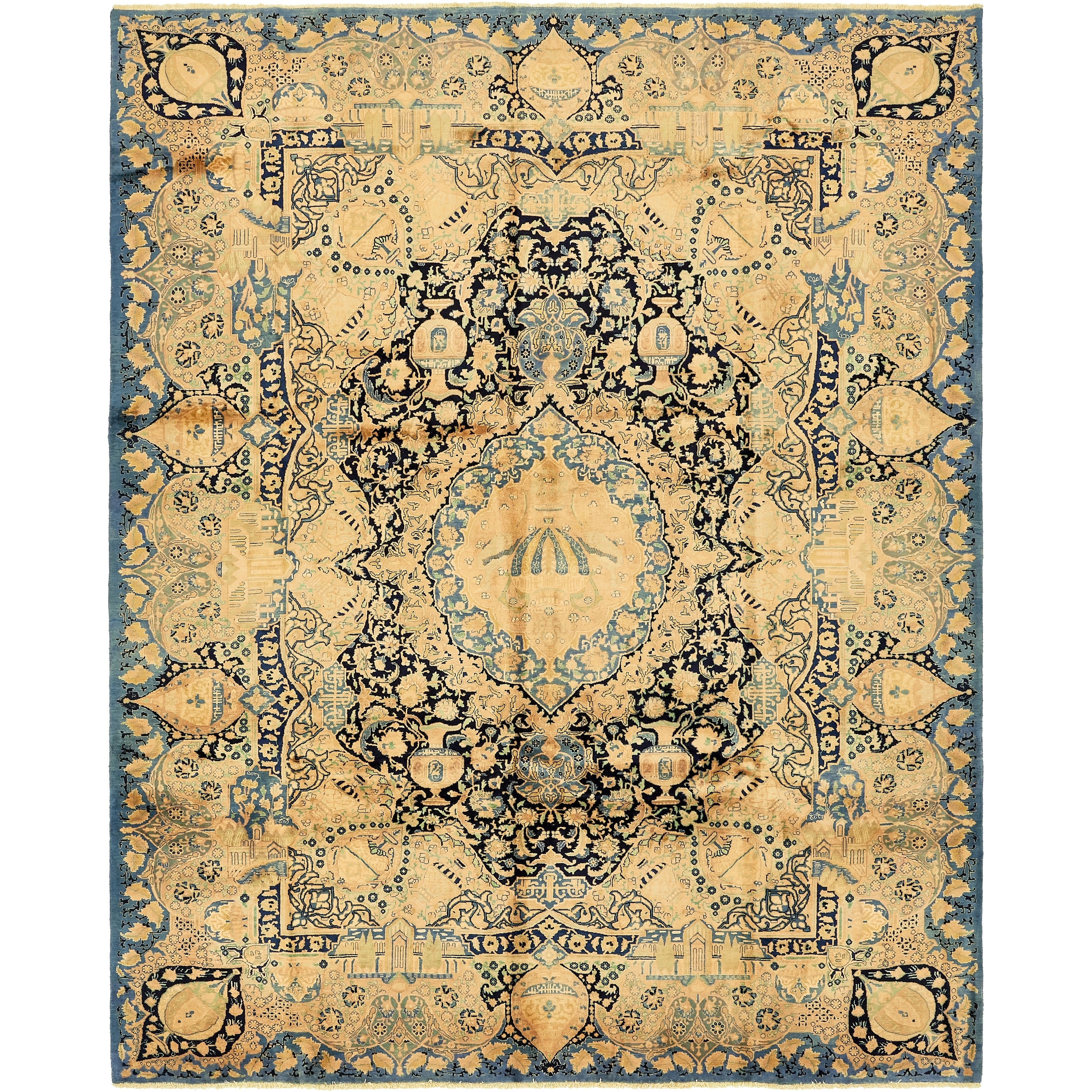 Hand Knotted Kashmar Semi Antique Wool Area Rug - 9 8 x 12 5 (Navy blue - 9 8 x 12 5)