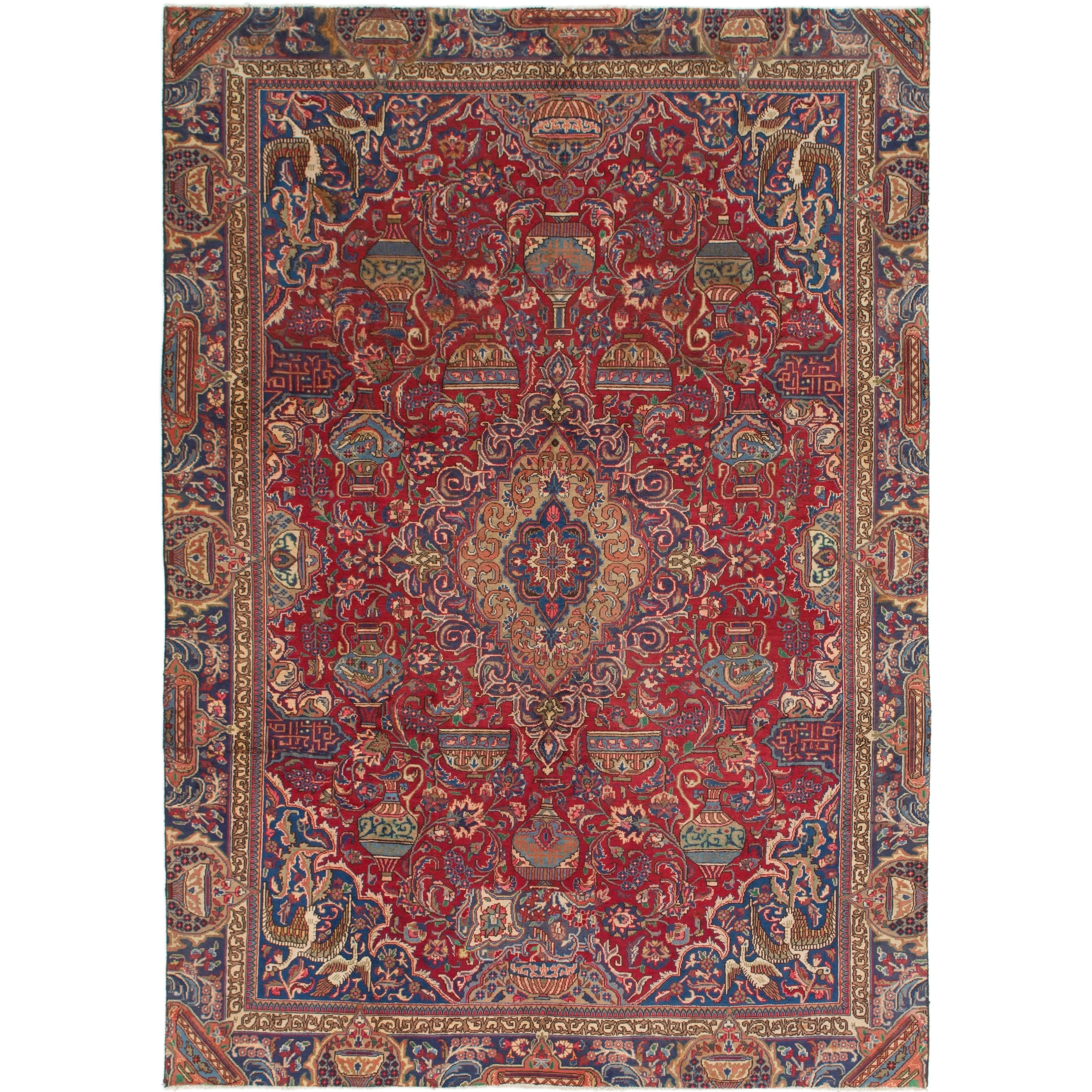 Hand Knotted Kashmar Semi Antique Wool Area Rug - 8 x 11 2 (Red - 8 x 11 2)