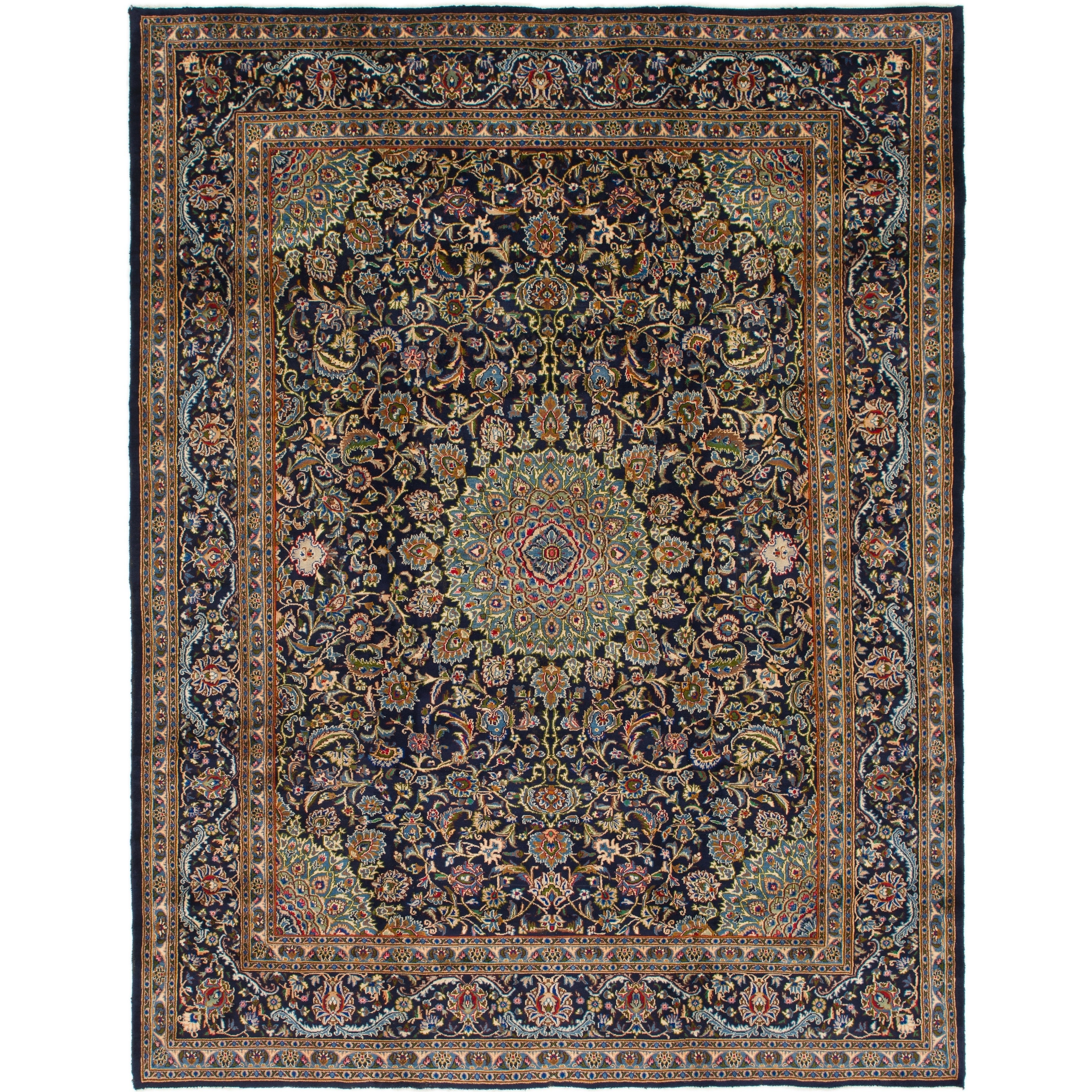 Hand Knotted Kashmar Wool Area Rug - 9 10 x 12 5 (Navy blue - 9 10 x 12 5)