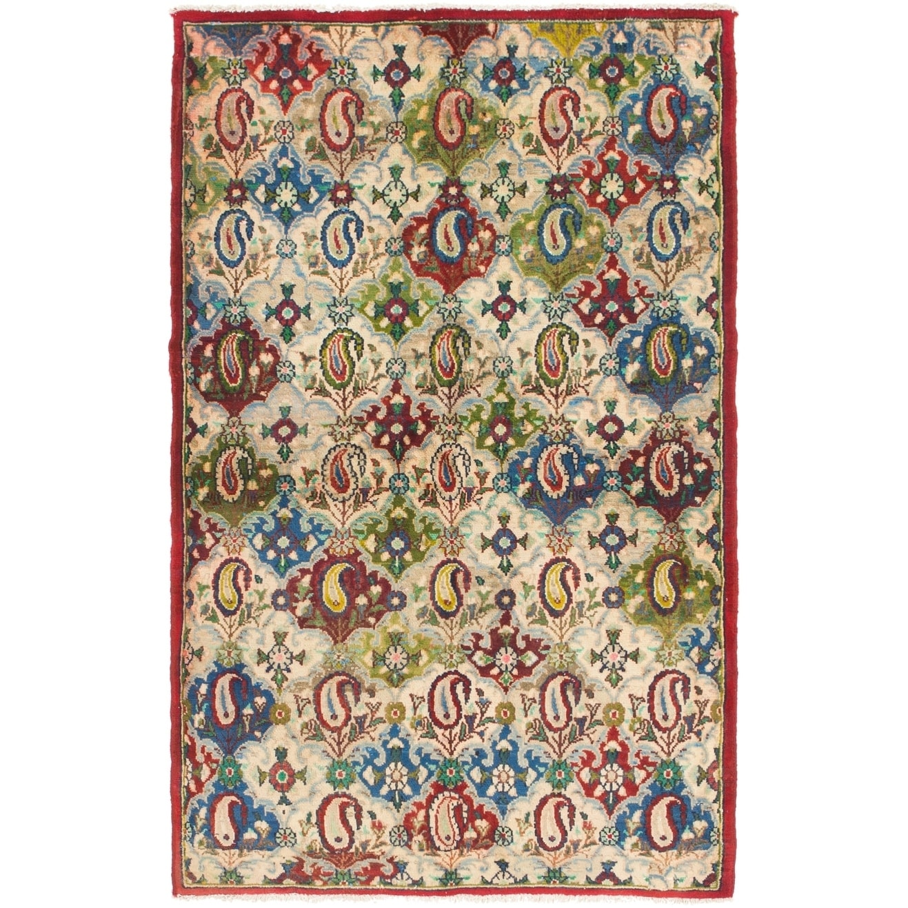 Hand Knotted Kashmar Semi Antique Wool Area Rug - 3 10 x 6 (Navy blue - 3 10 x 6)